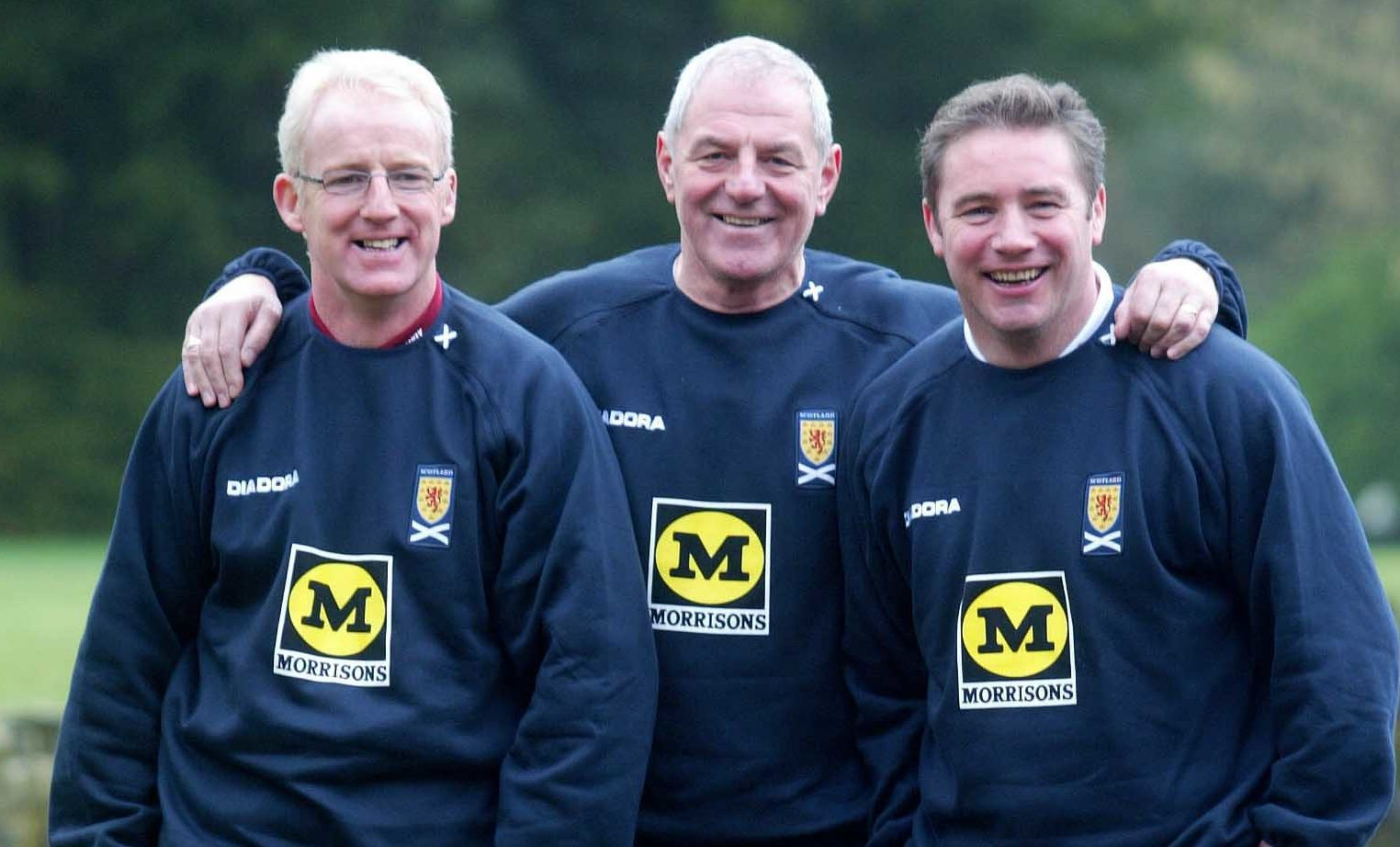 2005: Scotland manager Walter Smith (centre) flanked by his assistant Tommy Burns (left), and coach Ally McCoist (SNS Group / Bill Murray)