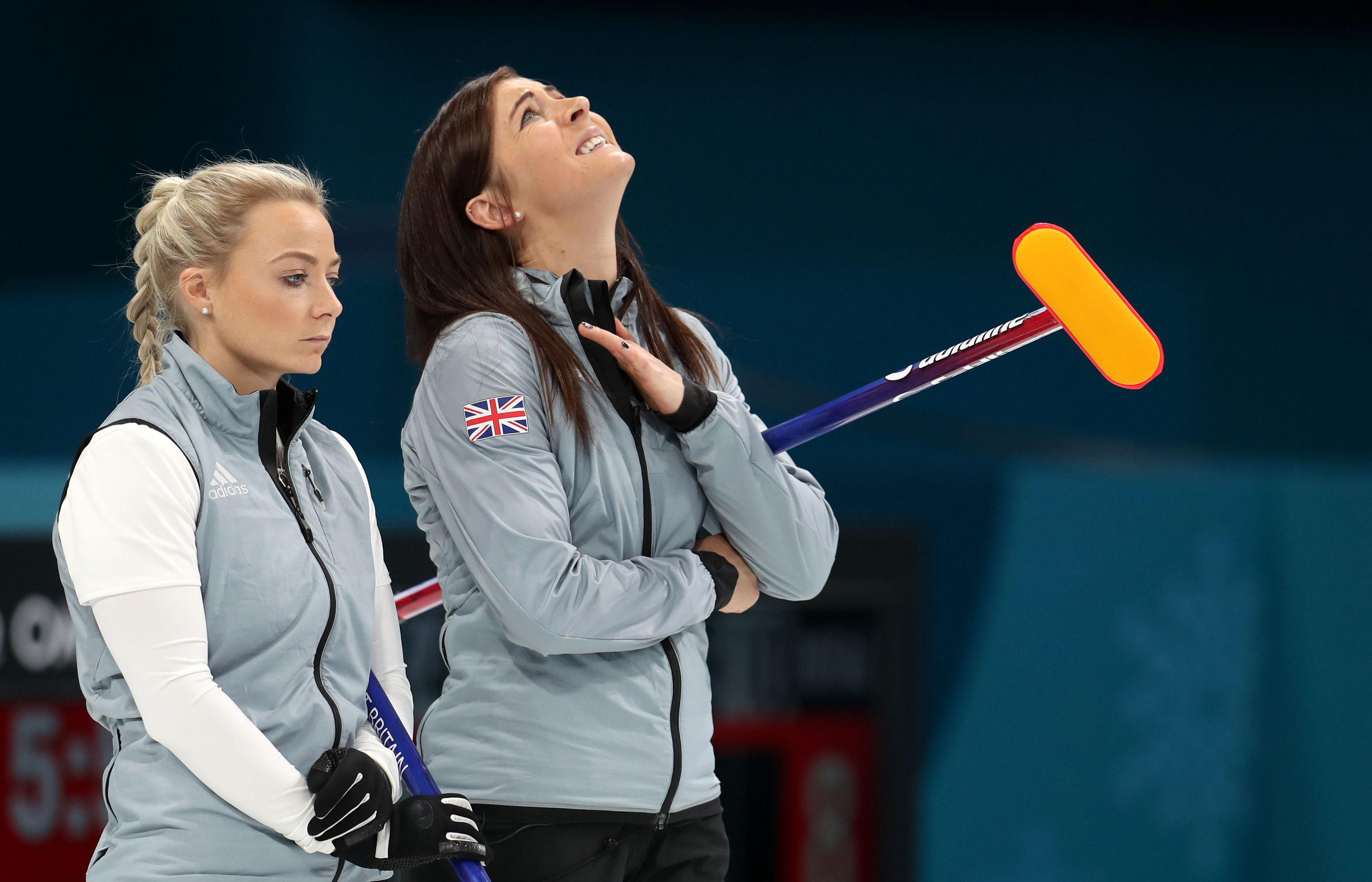 Great Britain's (left-right) Anna Sloan and skipper Eve Muirhead after their defeat (Mike Egerton/PA Wire)