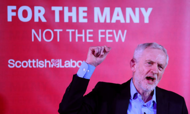 Labour leader Jeremy Corbyn speaks at a campaign rally at the Shottstown Miners Welfare Hall, Penicuik, Midlothian (Jane Barlow/PA Wire)