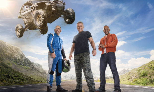 Top Gear presenters Chris Harris (left), Matt LeBlanc (centre) and Rory Reid. (BBC/PA Wire)