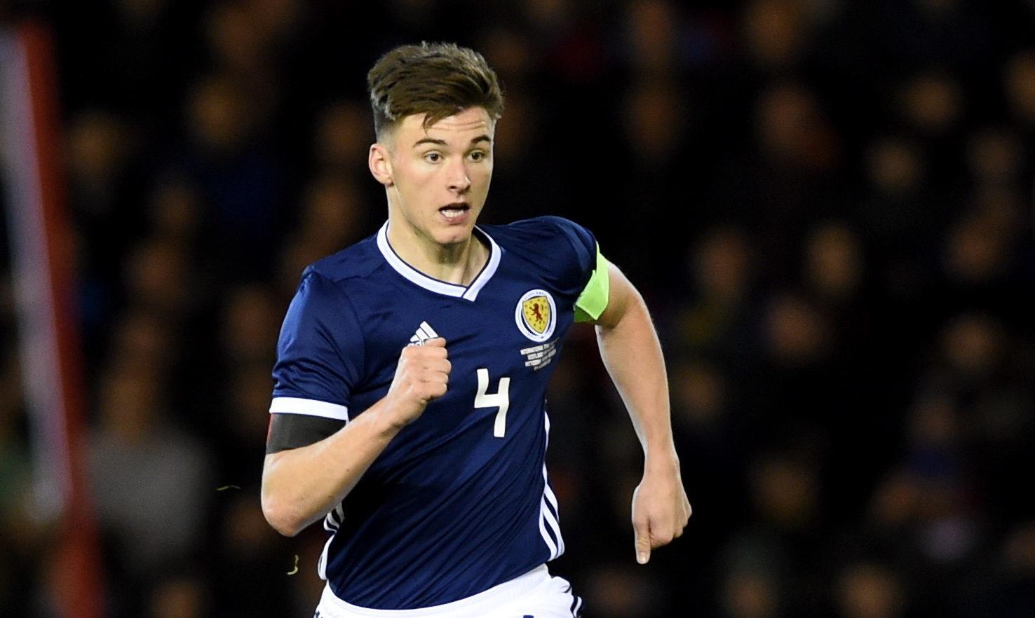 Kieran Tierney captaining Scotland against the Netherlands (Darrell Benns / DC Thomson)