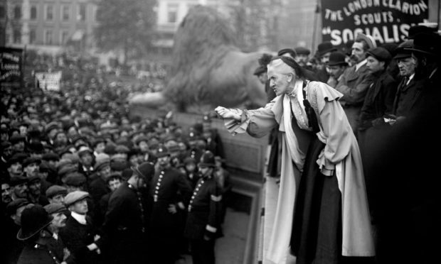 Suffragette Charlotte Despard speaking to a crowd in Trafalgar Square, London (PA)