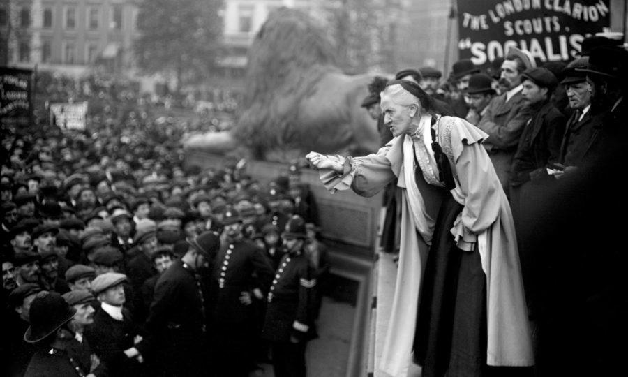 Suffragette Charlotte Despard speaking to a crowd in Trafalgar Square, London (PA)