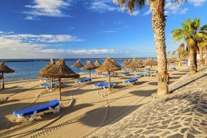 Los Cristianos beach in the island of Tenerife.