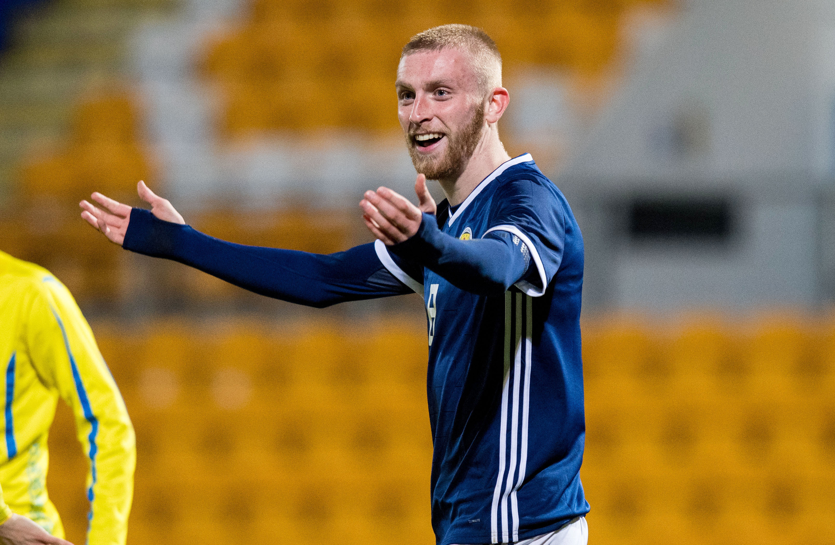 Oliver McBurnie in action for Scotland under-21s (SNS Group)