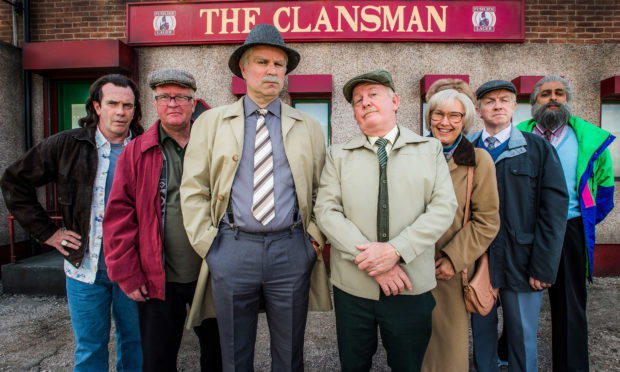 Still Game: Boabby (GAVIN MITCHELL), Winston (PAUL RILEY), Victor (GREG HEMPHILL), Jack (FORD KIERNAN), Isa (JANE MCCARRY), Tam (MARK COX), Navid (SANJEEV KOHLI) - (BBC Studios, Alan Peebles)