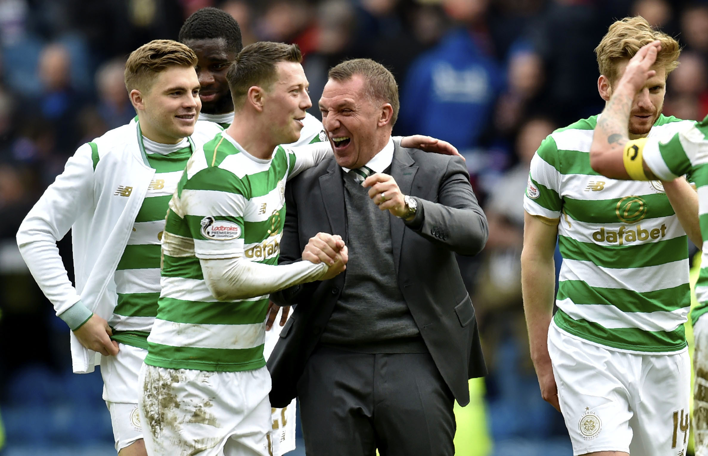 Celtic manager Brendan Rodgers with Callum McGregor at full time (SNS)