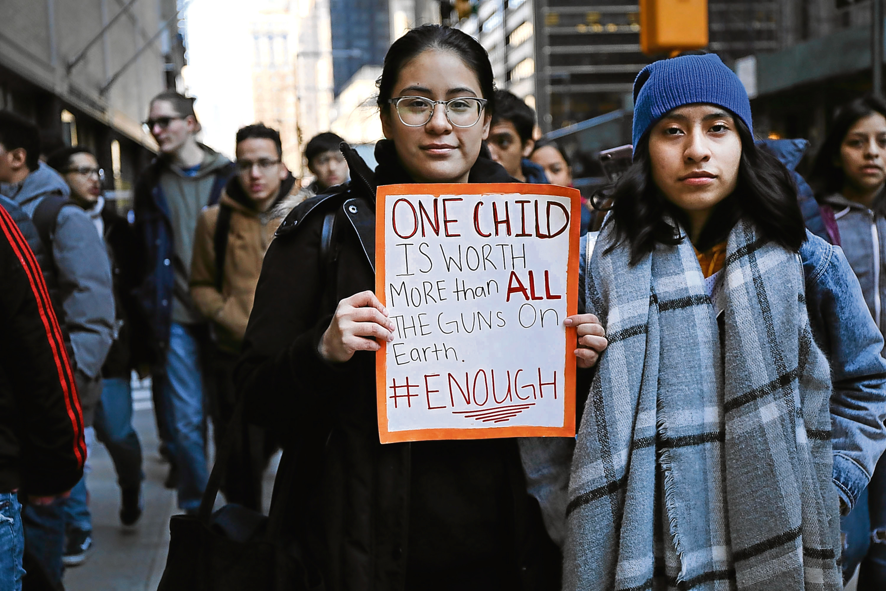 Students from surrounding schools gather at Zuccotti Park in lower Manhattan to mark one month since the high school shooting in Parkland, Florida and to demand an end to gun violence on March 14, 2018 in New York City  (Spencer Platt/Getty Images)