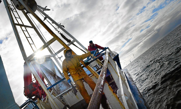 Scottish trawler men aboard the trawler, Carina, haul in their catch some 70 miles off the North coast of Scotland, (Chris Furlong/Getty Images)
