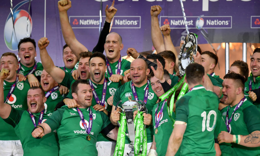 Rory Best of Ireland celebrates with The NatWest Six Nations trophy during the NatWest Six Nations match between England and Ireland at Twickenham Stadium on March 17, 2018 in London, England. (Dan Mullan/Getty Images)