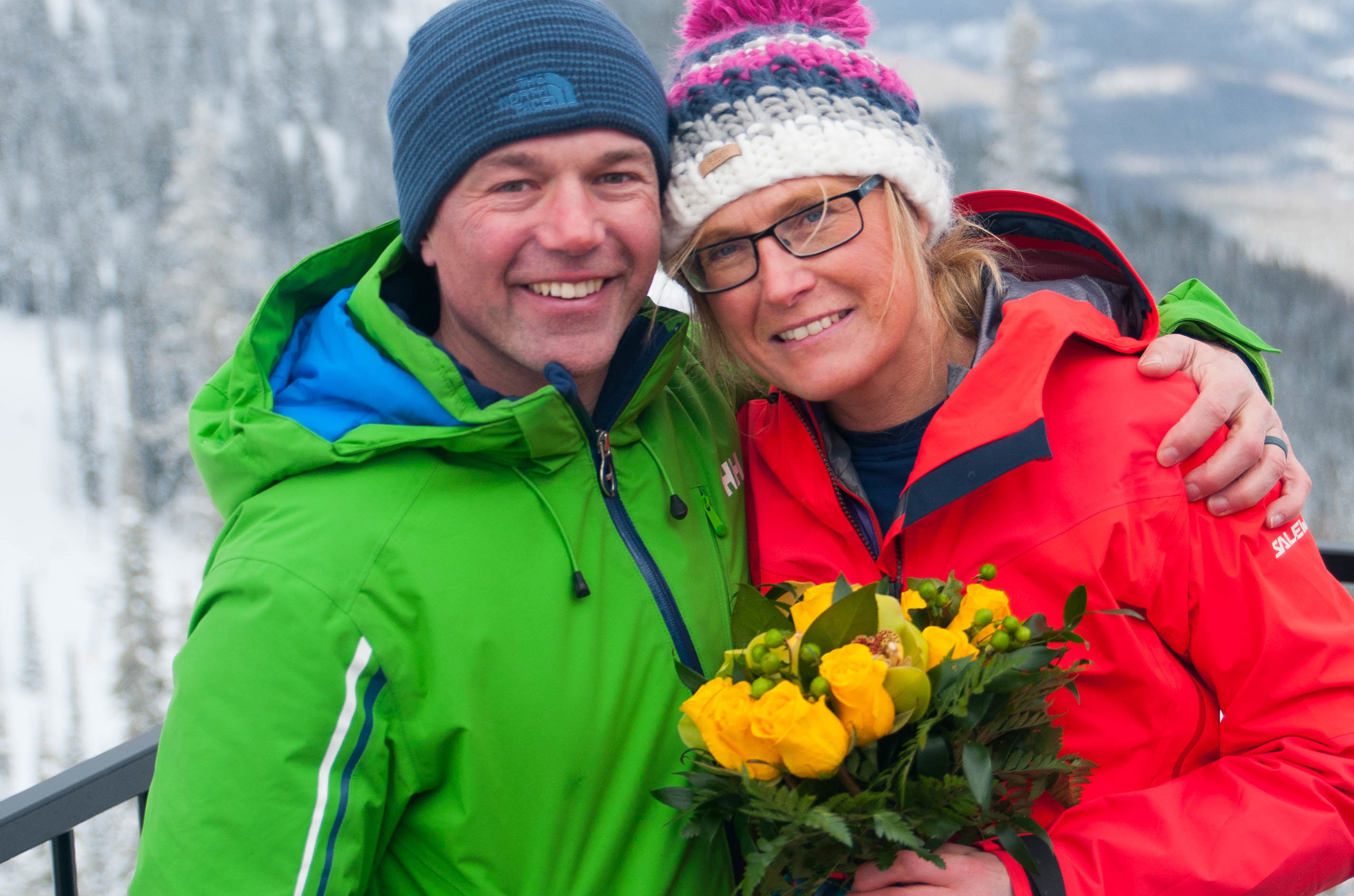 """Fiona Russell and Gordon Lacey both had marriage plans when they headed off to the """"Powder Highway"""" on holiday last month"""