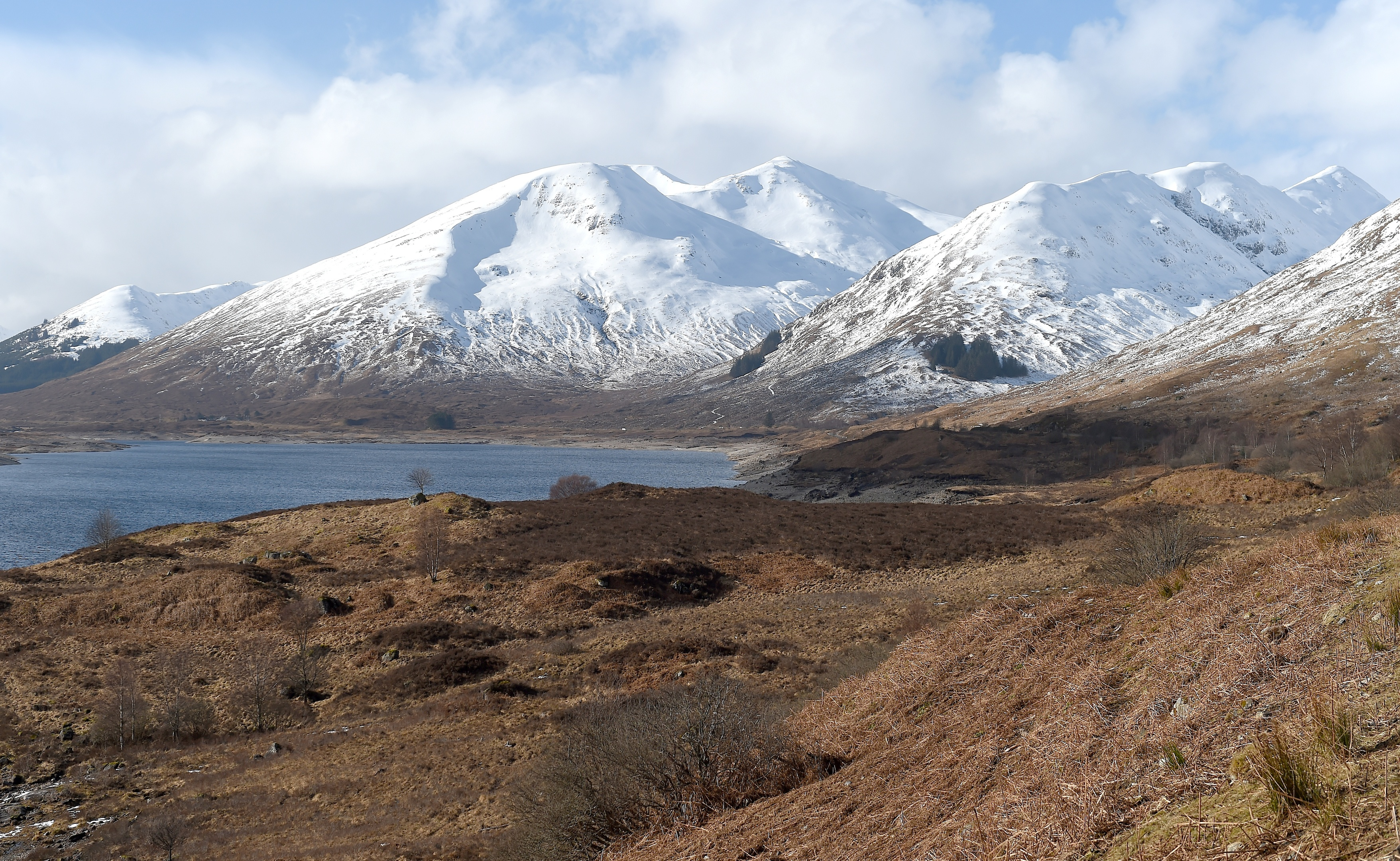 Loch Cluanie in Inverness-shire with its surrounding hills covered in snow (Sandy McCook / DC Thomson)