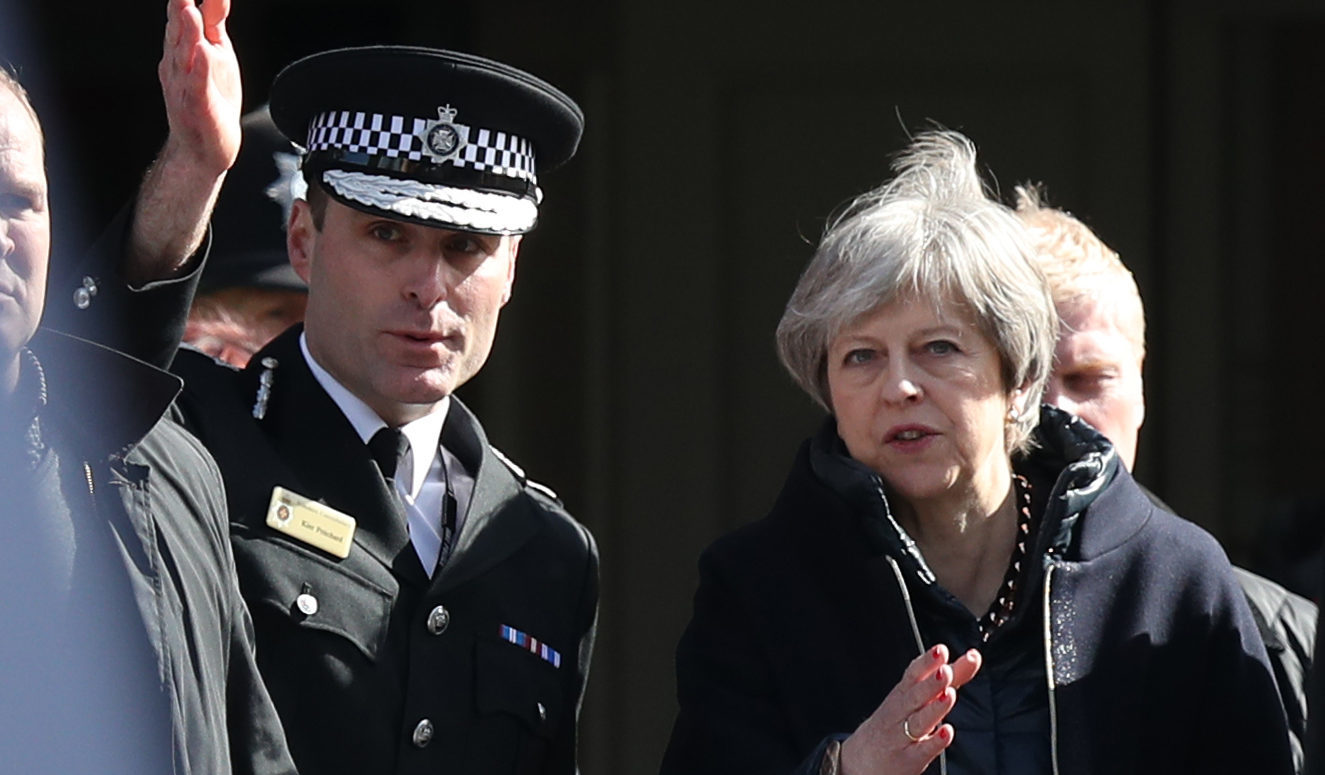 Prime Minister Theresa May, with Wiltshire Police Chief Constable Kier,  in Salisbury as she views the area of the suspected nerve agent attack on Russian double agent Sergei Skripal and his daughter Yulia (Andrew Matthews/PA Wire)