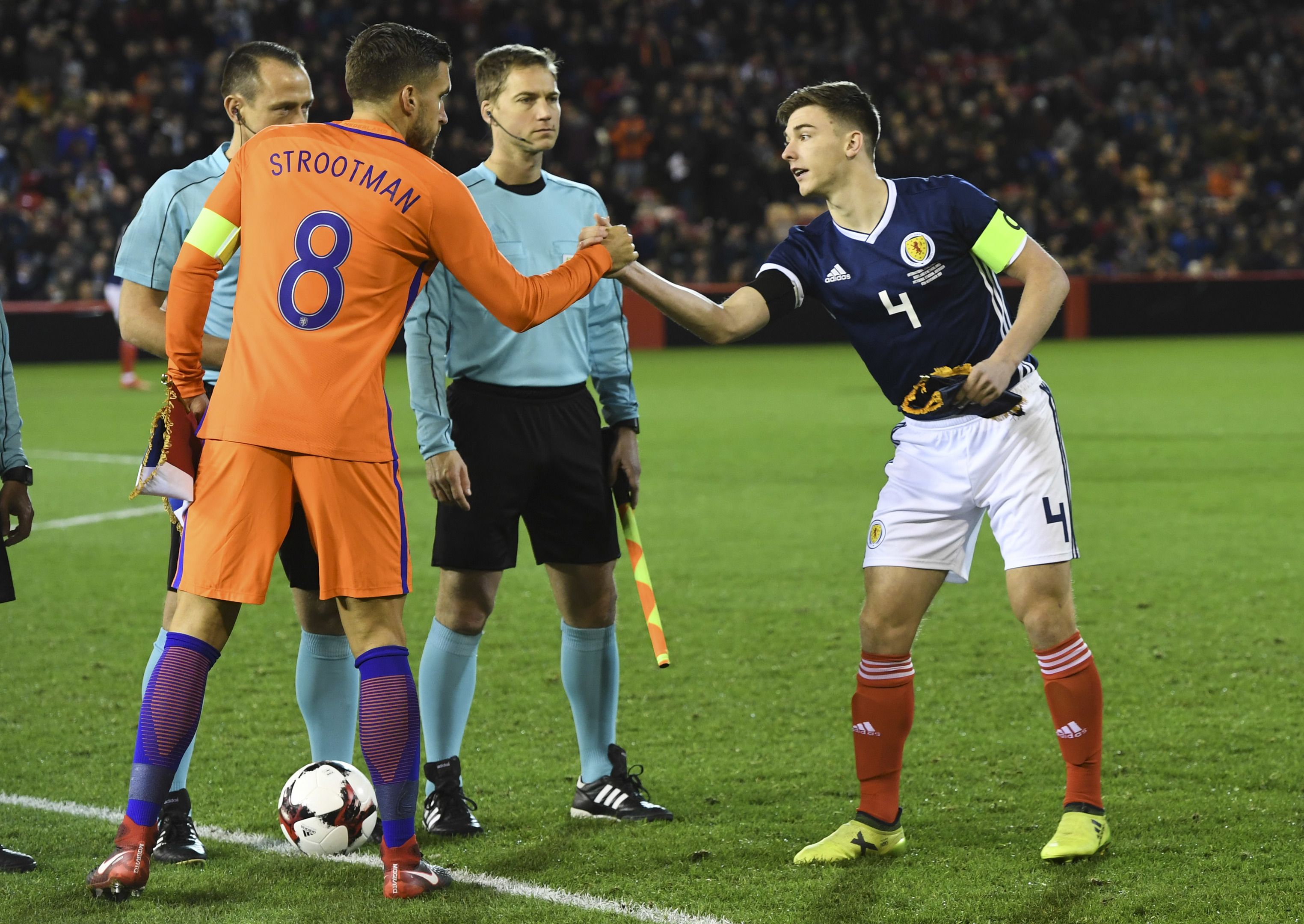 Kieran Tierney captained Scotland against the Netherlands (SNS Group / Craig Williamson)
