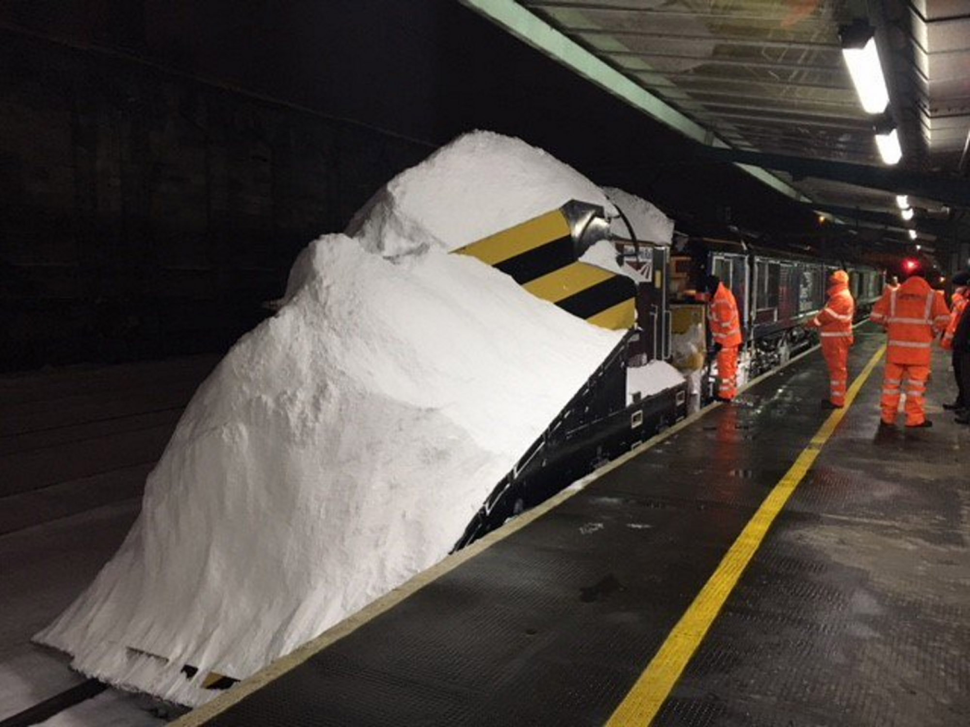 A snow plough on arrival at Carlisle station after being used to clear cross-border railway tracks (ScotRail/PA Wire)