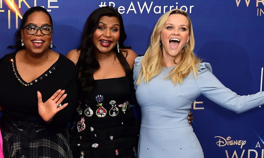 prah Winfrey, Mindy Kaling and Reese Witherspoon at the A Wrinkle In Time European premiere (Ian West/PA)