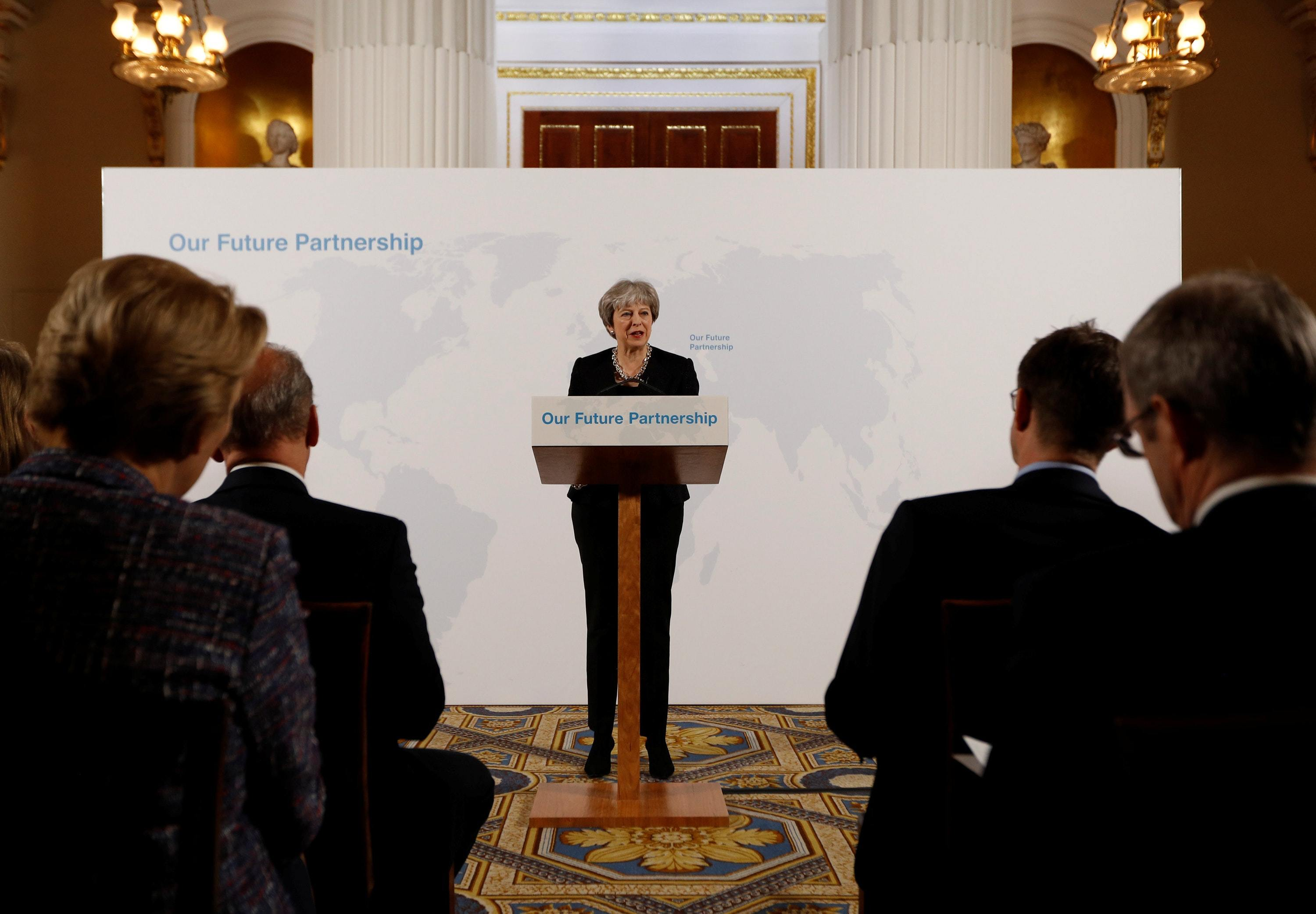 Prime Minister Theresa May delivers a speech at the Mansion House in London on the UK's economic partnership with the EU after Brexit. (PA)
