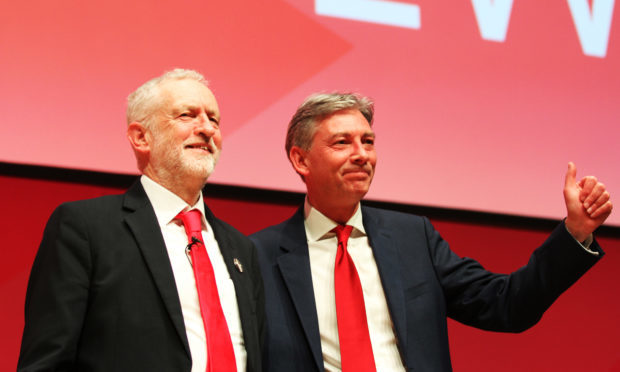 Leaders of the Labour Party Jeremy Corbyn and Richard Leonard. (Mhairi Edwards/Courier)