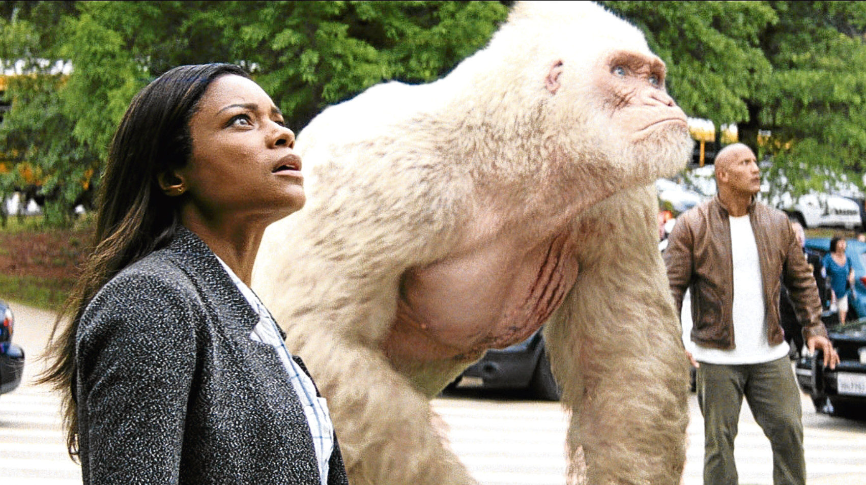 Naomie Harris and Dwayne Johnson in Rampage (Allstar/NEW LINE CINEMA)