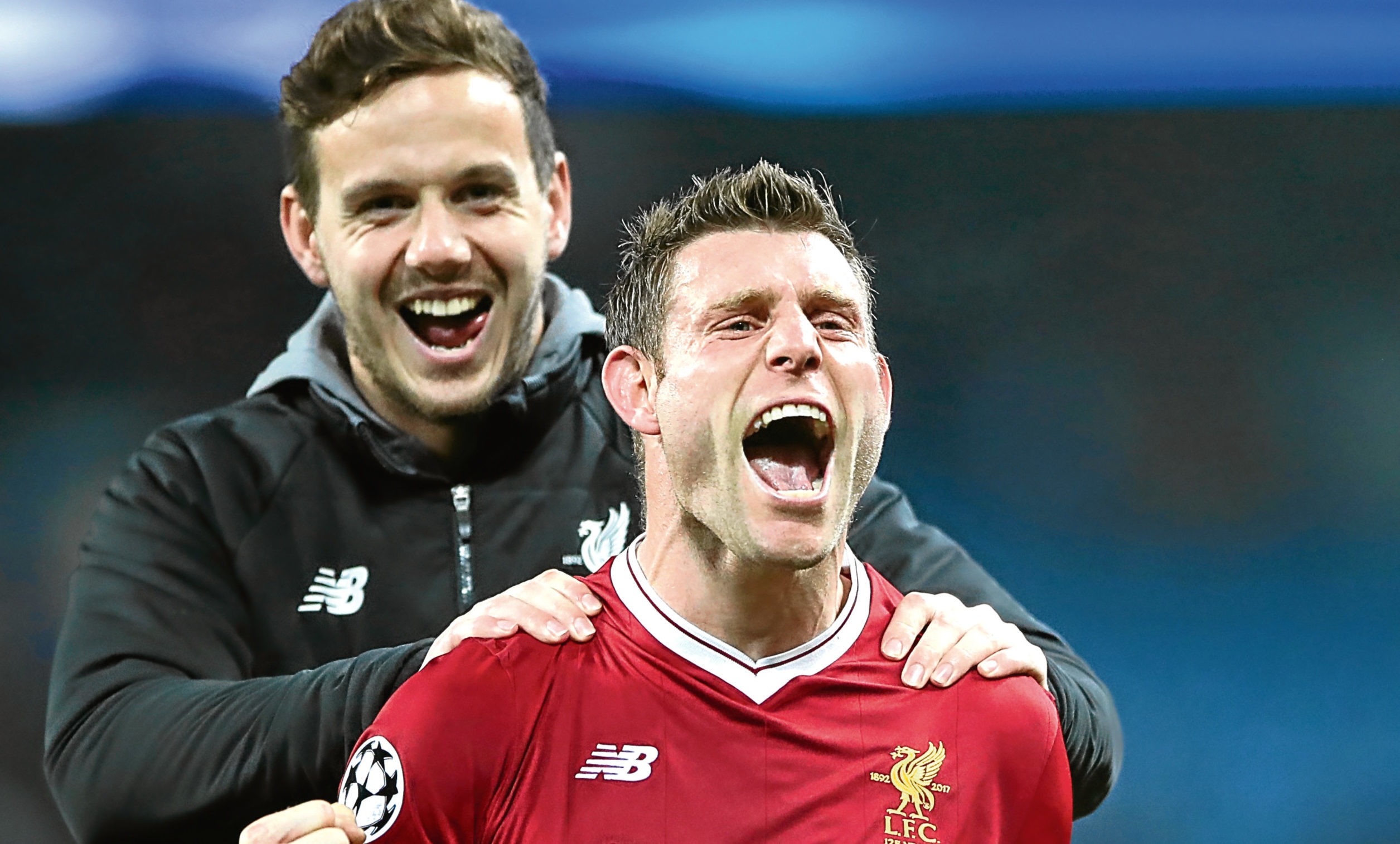 Liverpool's James Milner and Danny Ward celebrate victory after the Champions League, Quarter Final (Nick Potts/PA Wire)