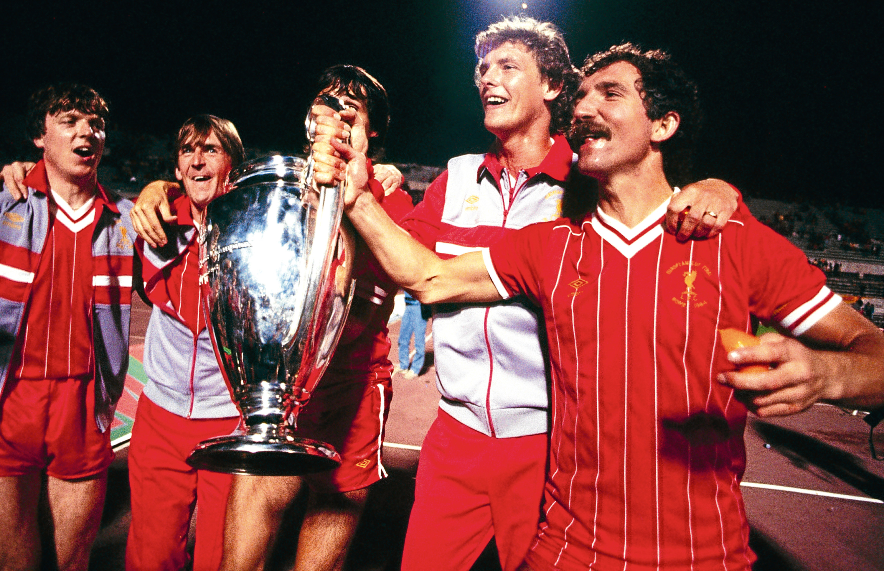 Liverpool's Scots (from left) Steve Nicol, Kenny Dalglish, Alan Hansen, Gary Gillespie and Graeme Souness celebrate the European Cup Final win over Roma in their own backyard back in 1984 (Liverpool FC via Getty Images)
