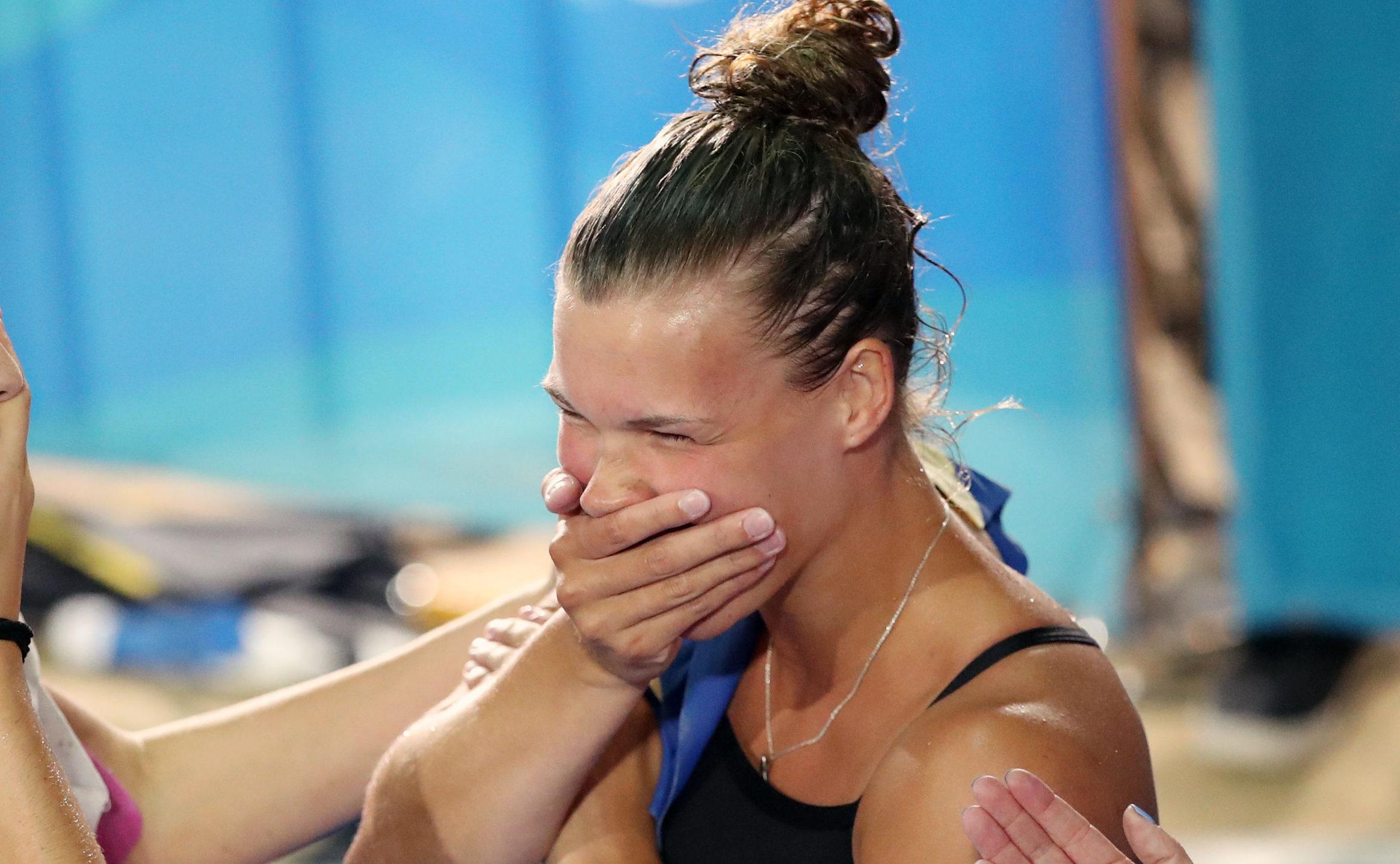 Scotland's Grace Reid celebrates Gold in the Women's 1m Springboard Final at the Optus Aquatic Cen (Danny Lawson/PA Wire)