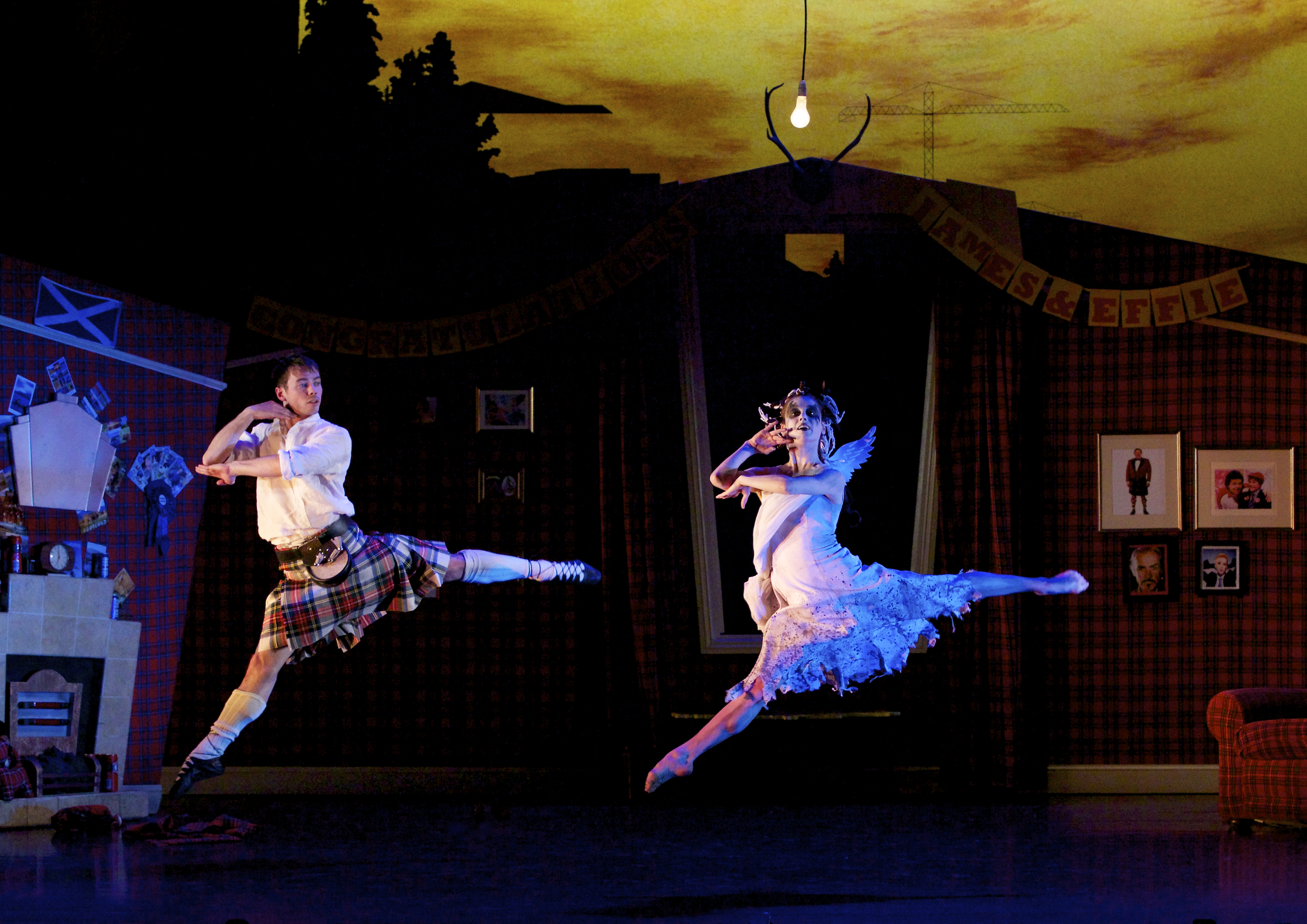 Christopher Harrison as James; Sophie Martin as Sylph in Scottish Ballet's production of Matthew Bourne's Highland Fling (Andy Ross)