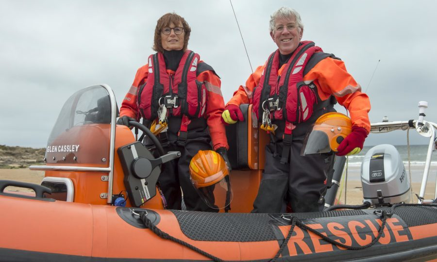 Ashley Rose with her partner Jerry Horak aboard the lifeboat (Trevor Martin)
