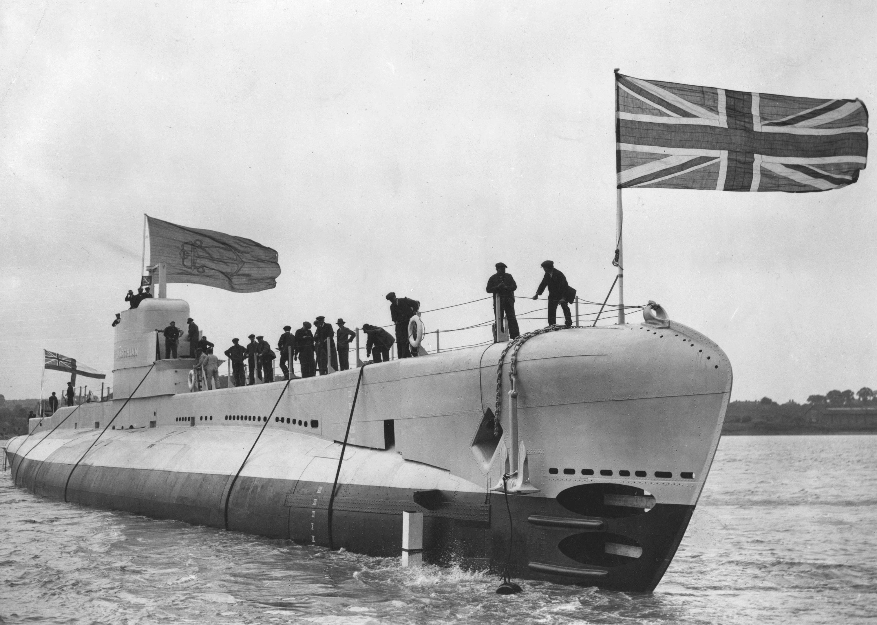 Navy sub HMS Parthian is launched off Chatham on June 22, 1929 (Edward G. Malindine / Getty Images)