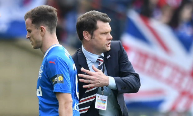 Rangers' Andy Halliday is frustrated as he is subbed in the first half in the semi-final (SNS Group / Craig Williamson)