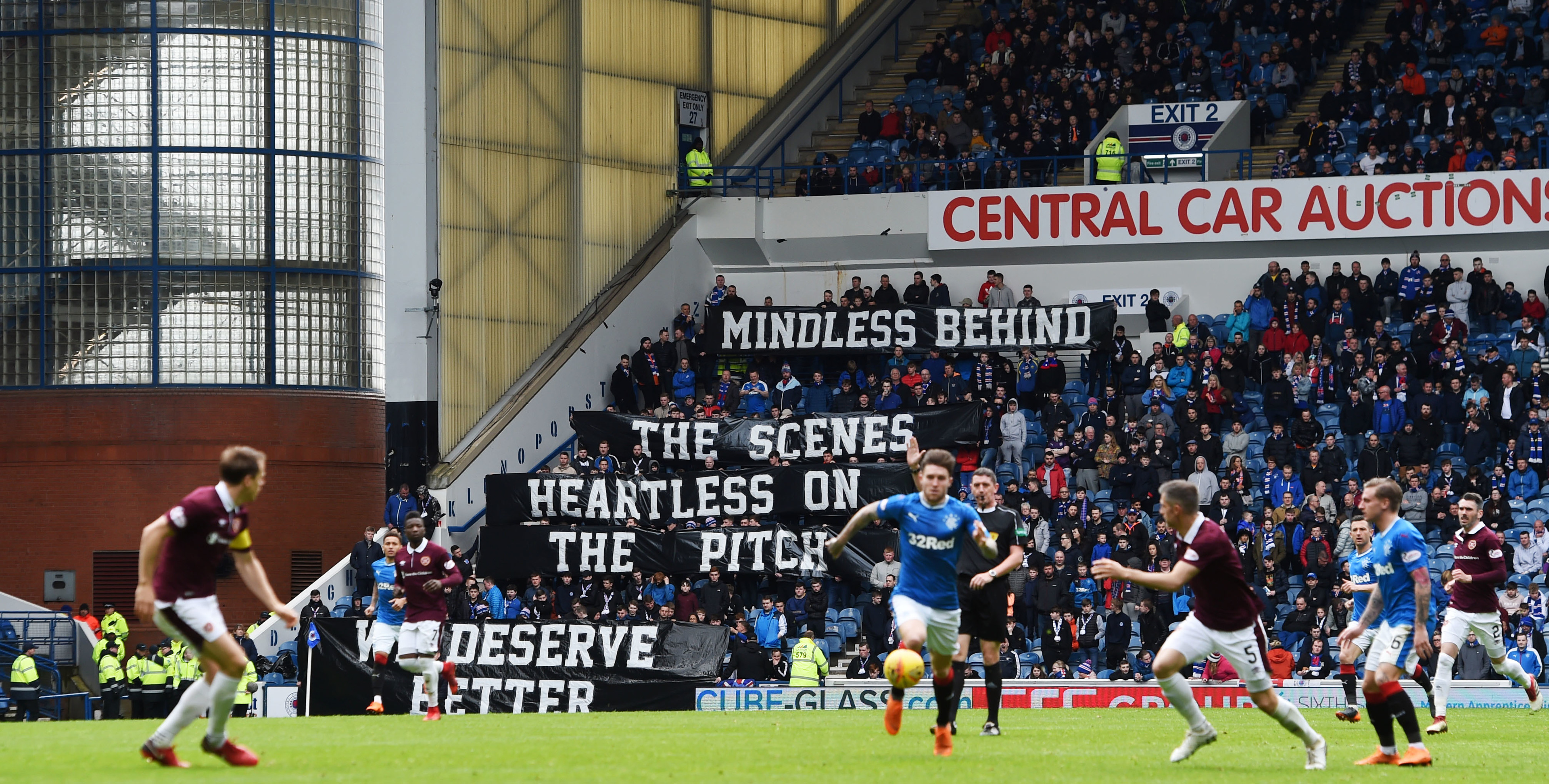 Rangers fans display a banner at the match against Hearts (SNS Group / Craig Foy)