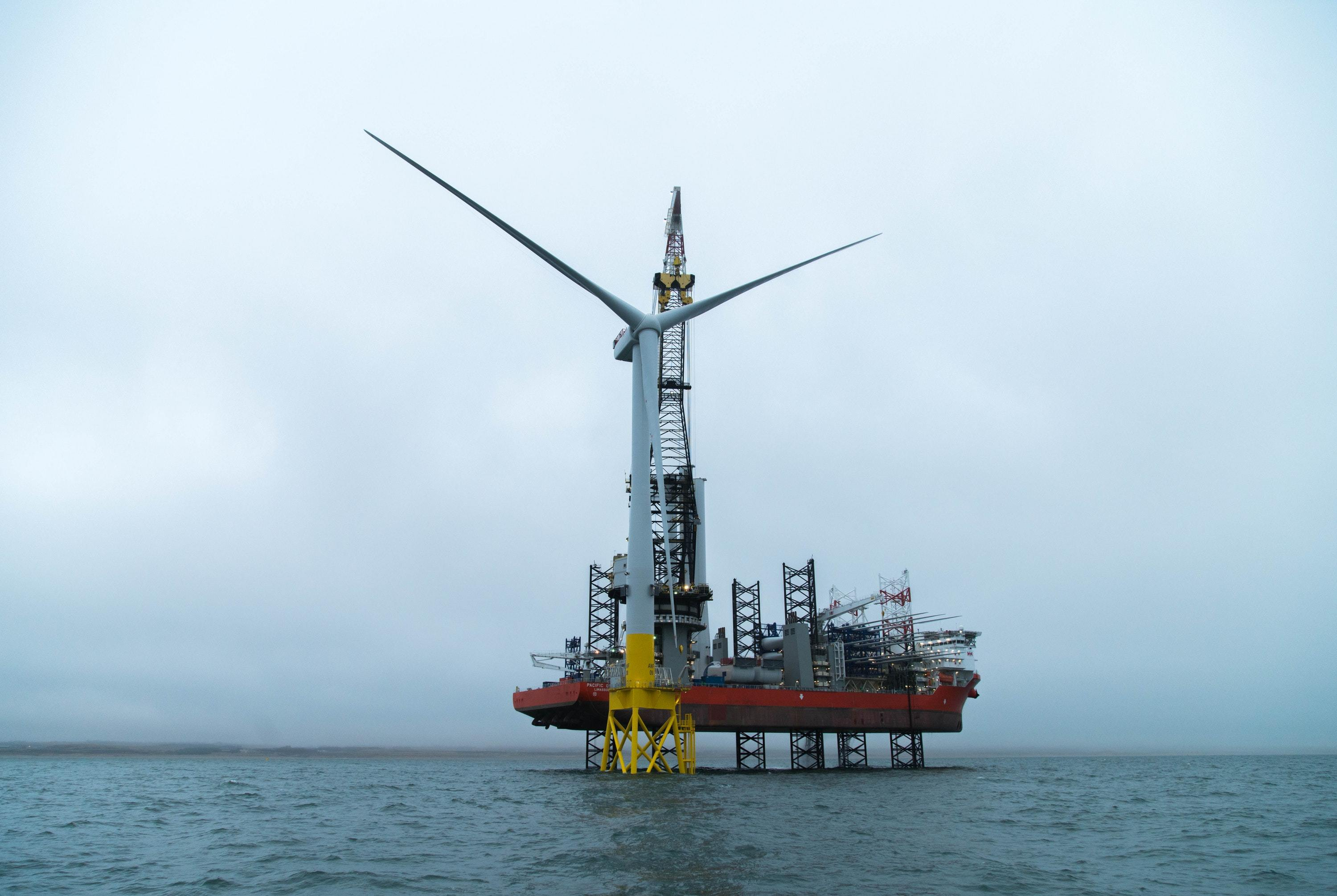 The first turbine to be installed at the EOWDC, off the coast of Aberdeen (TVP Film and Multimedia Ltd/PA)