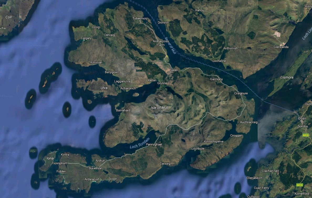 The Isle of Mull (Google Maps)