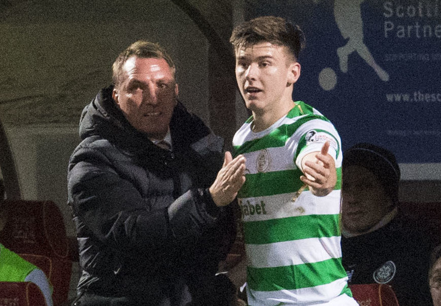 Celtic manager Brendan Rodgers and Kieran Tierney (SNS Group / Craig Foy)