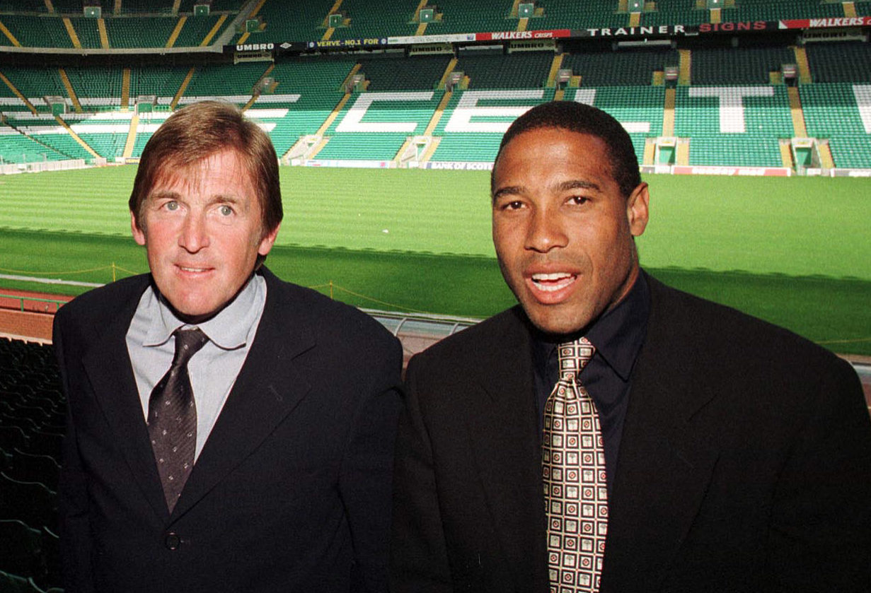 Kenny Dalglish with John Barnes at Celtic Park back in 1999