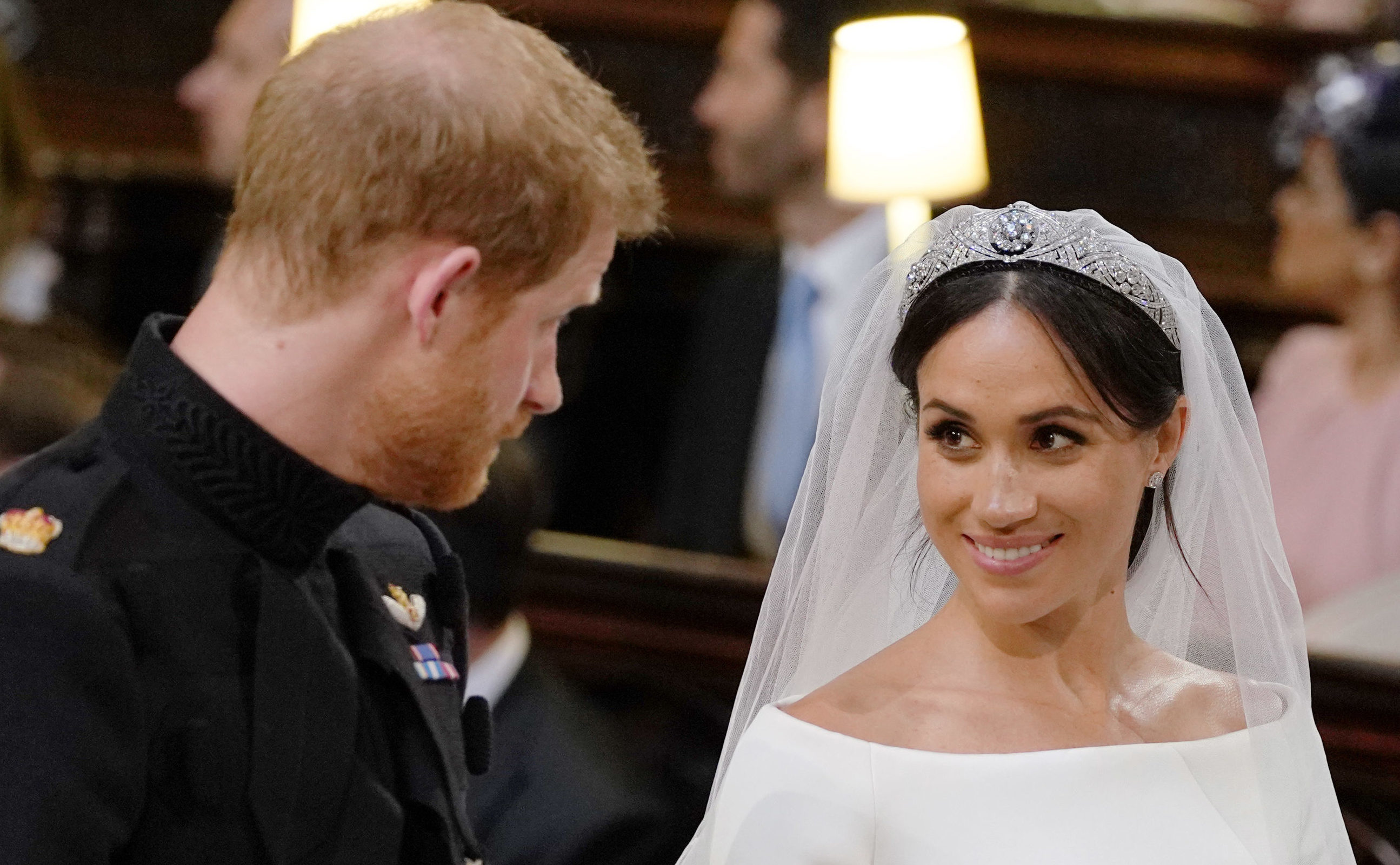 Harry and Meghan look into each other's eyes during the  service (Dominic Lipinski - WPA Pool/Getty Images)