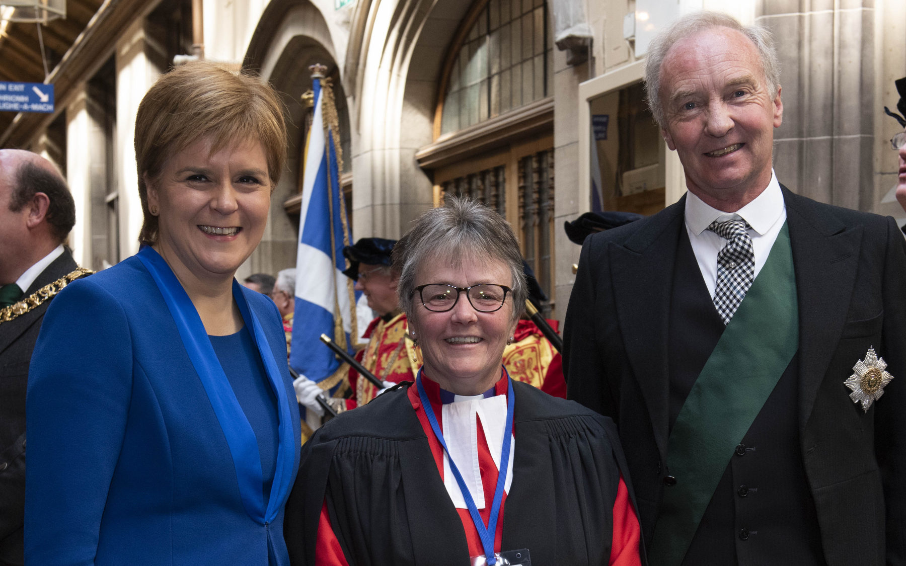 Mrs Brown when she was  elected to office, pictured with the Duke of Buccleuch and Nicola Sturgeon (Andrew O'Brien)
