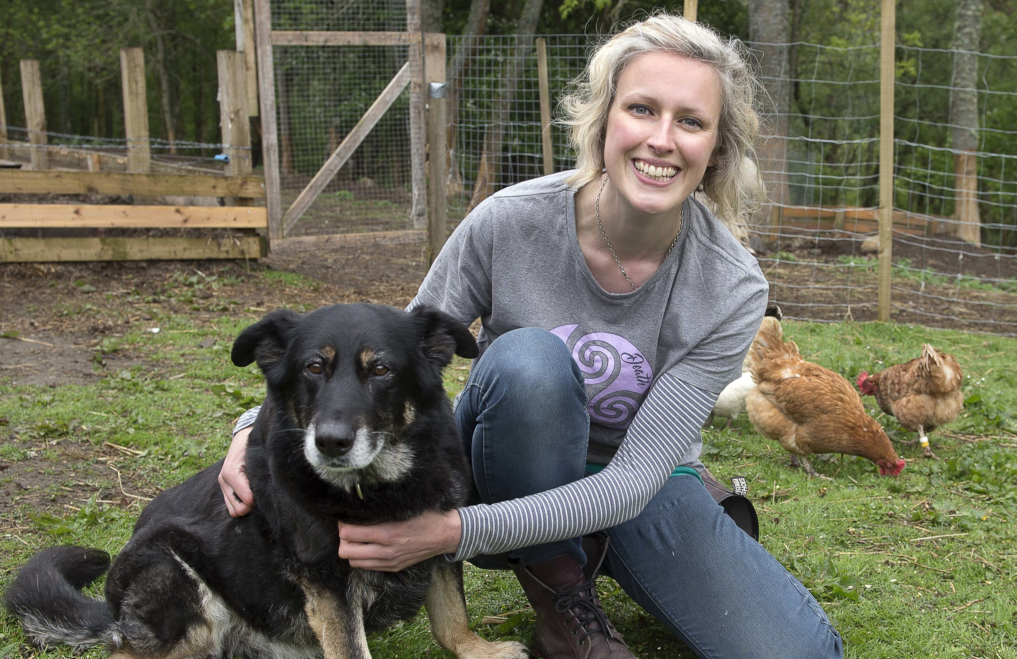 Animal hospice founder Alexis Fleming with German shepherd Beryl, who was found on the streets with a massive tumour (Trevor Martin)