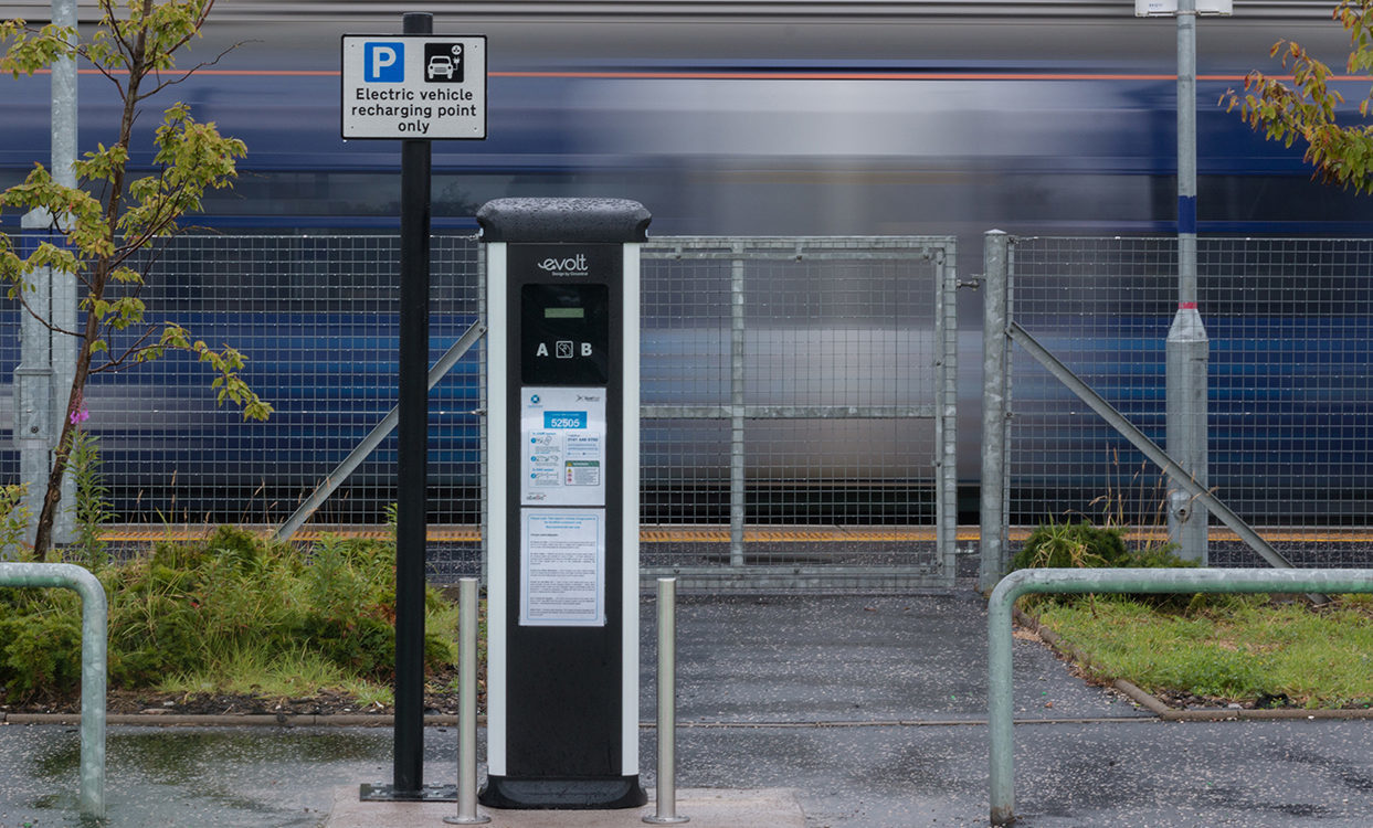 A charging point at Bathgate station