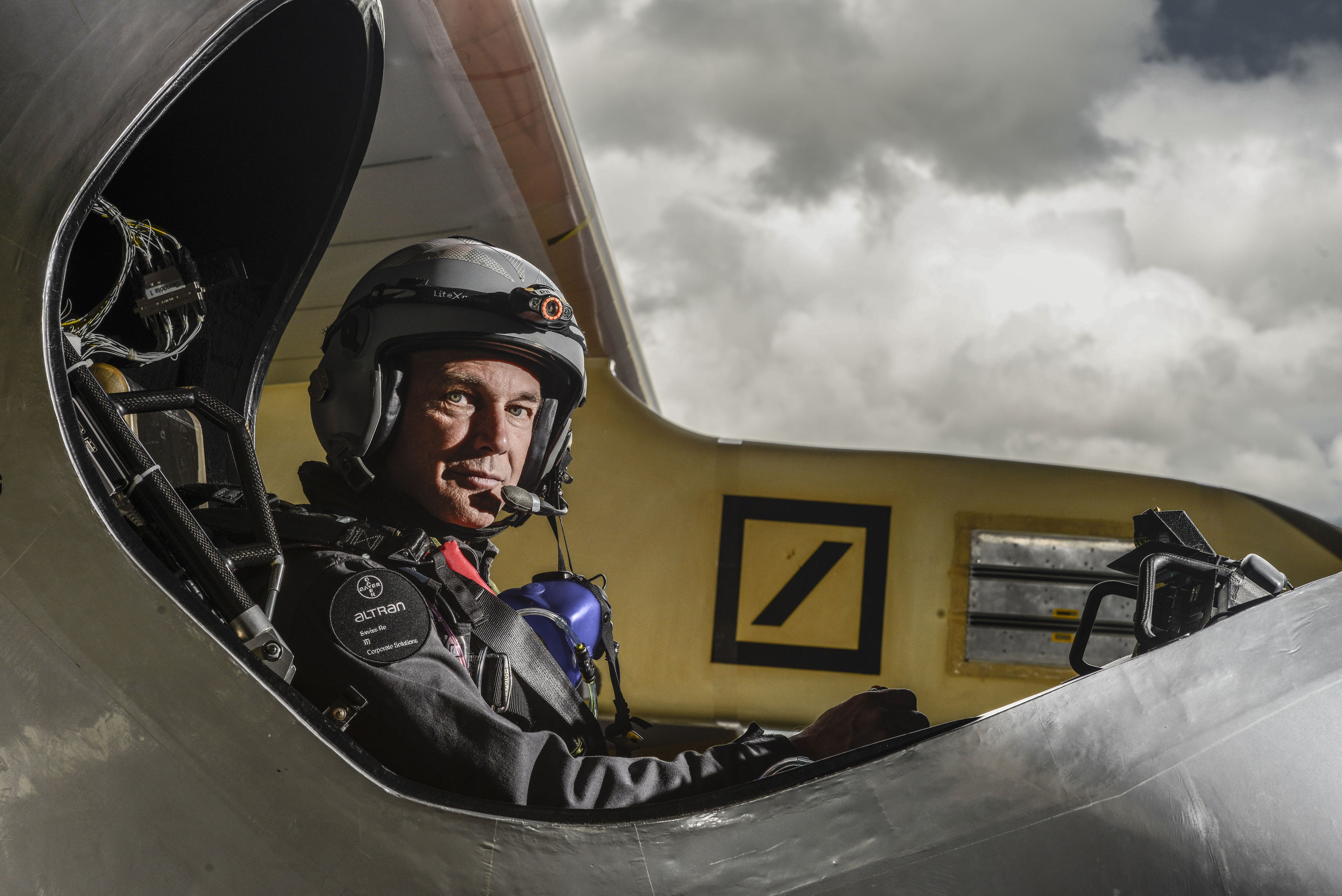 Bertrand Piccard at the controls of Solar Impulse (Jean Revillard/Rezo.ch/Solarimpulse/Polaris)