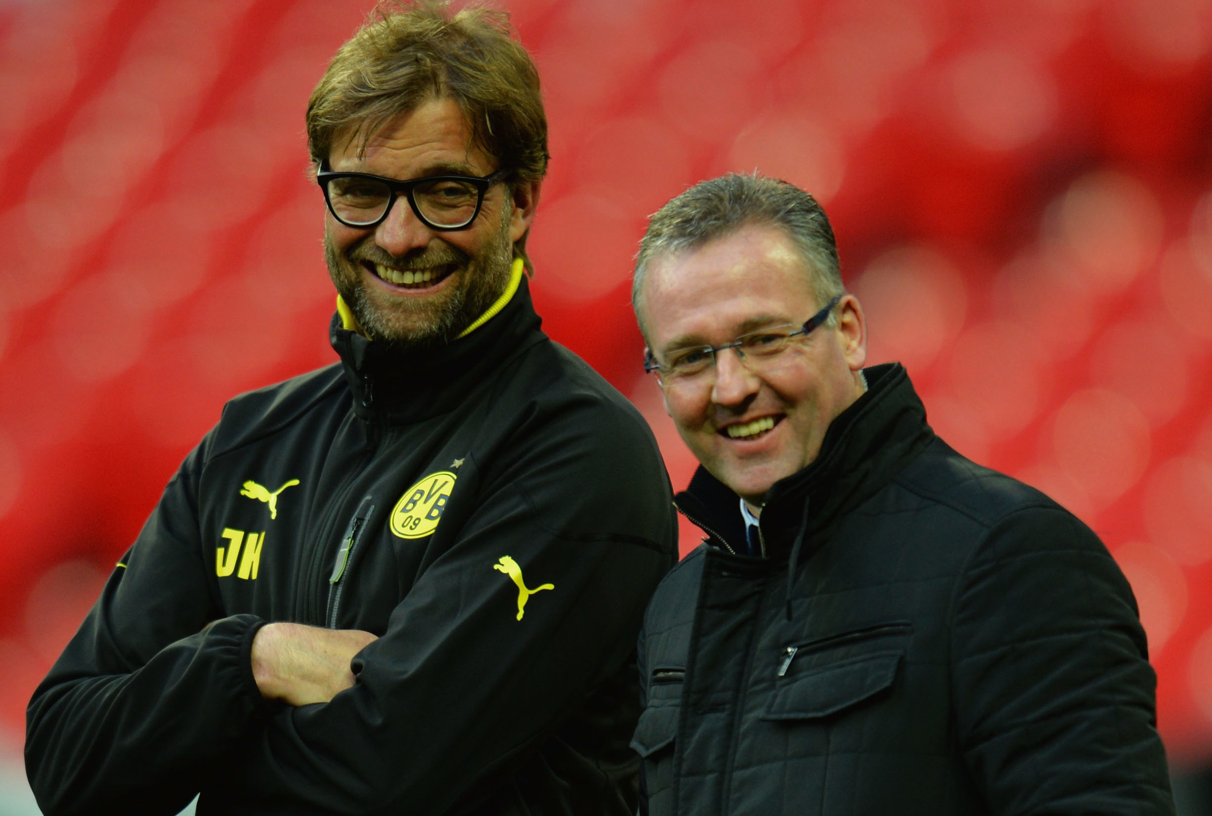 Paul Lambert with Jurgen Klopp as the German prepared for the Champions League Final at Wembley in 2013 (Shaun Botterill/Getty Images)