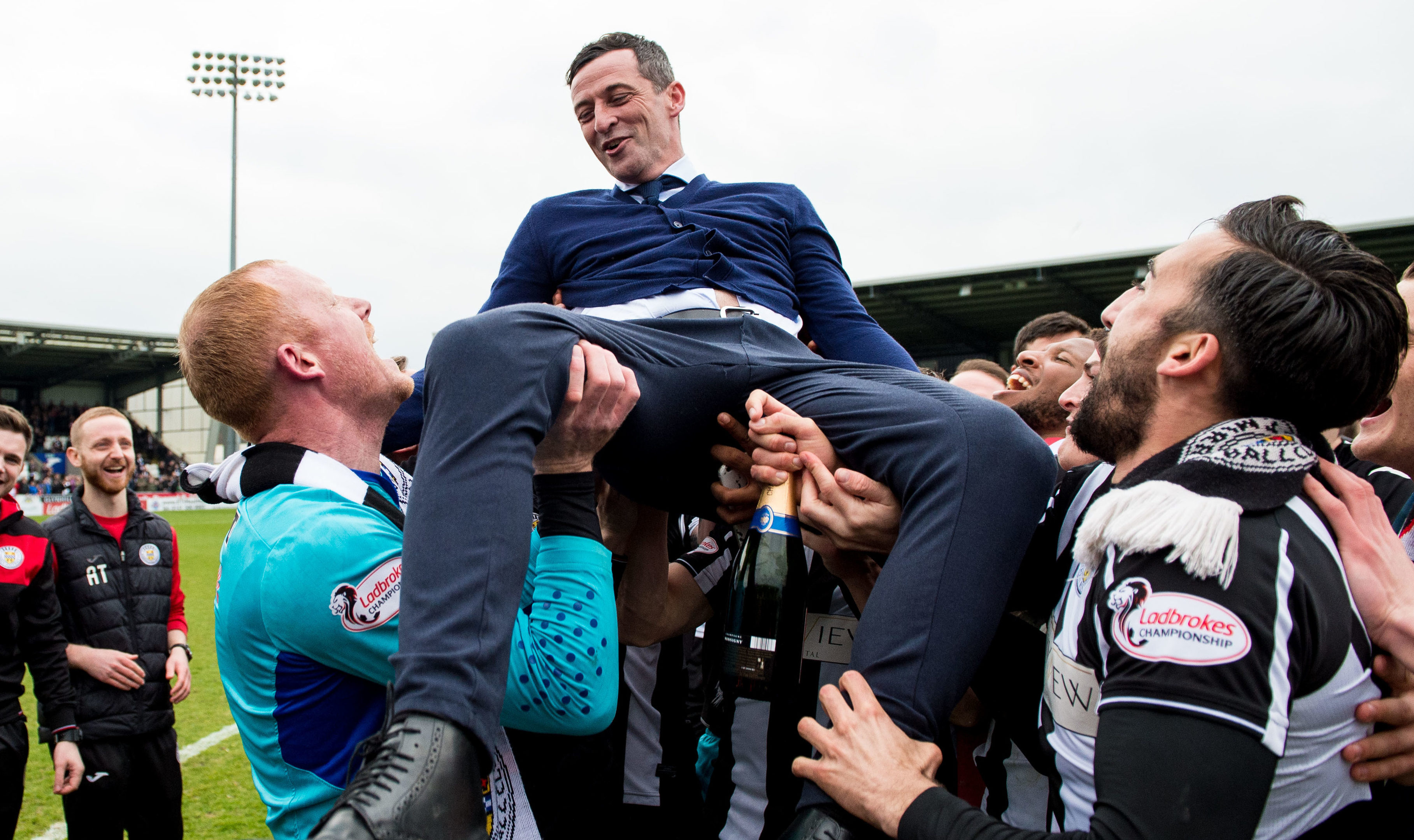 St Mirren manager Jack Ross celebrates as his side clinch the Championship title (SNS Group / Ross Parker)