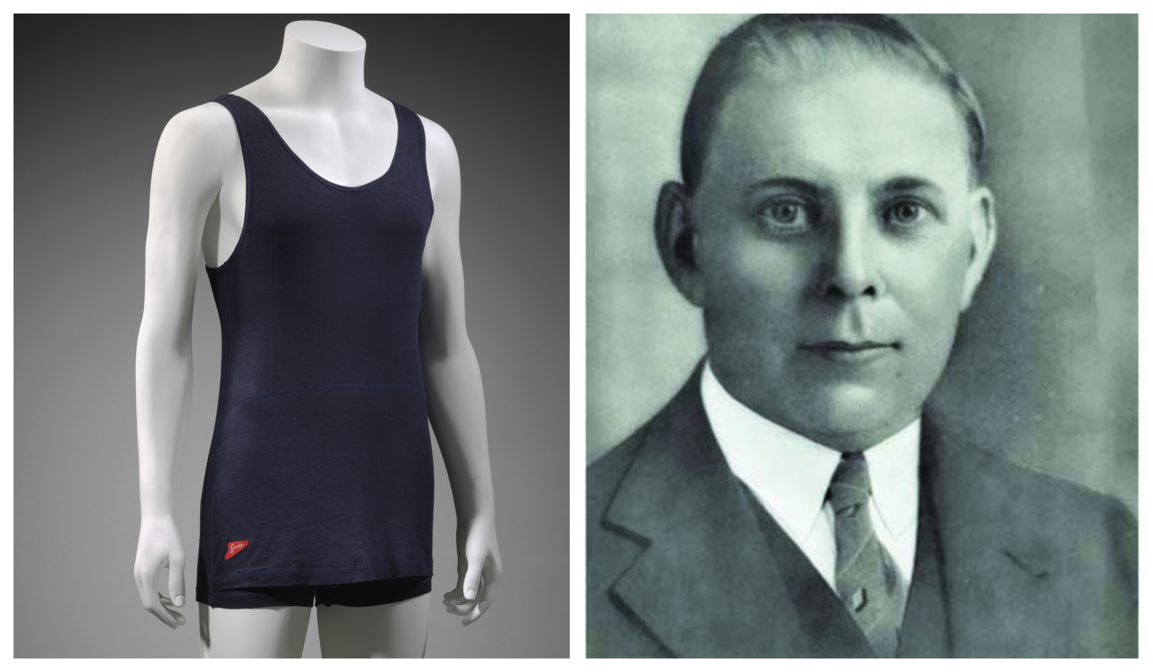 The V&A in Dundee will display Speedo founder Alexander MacRae's (right) Racerback suit