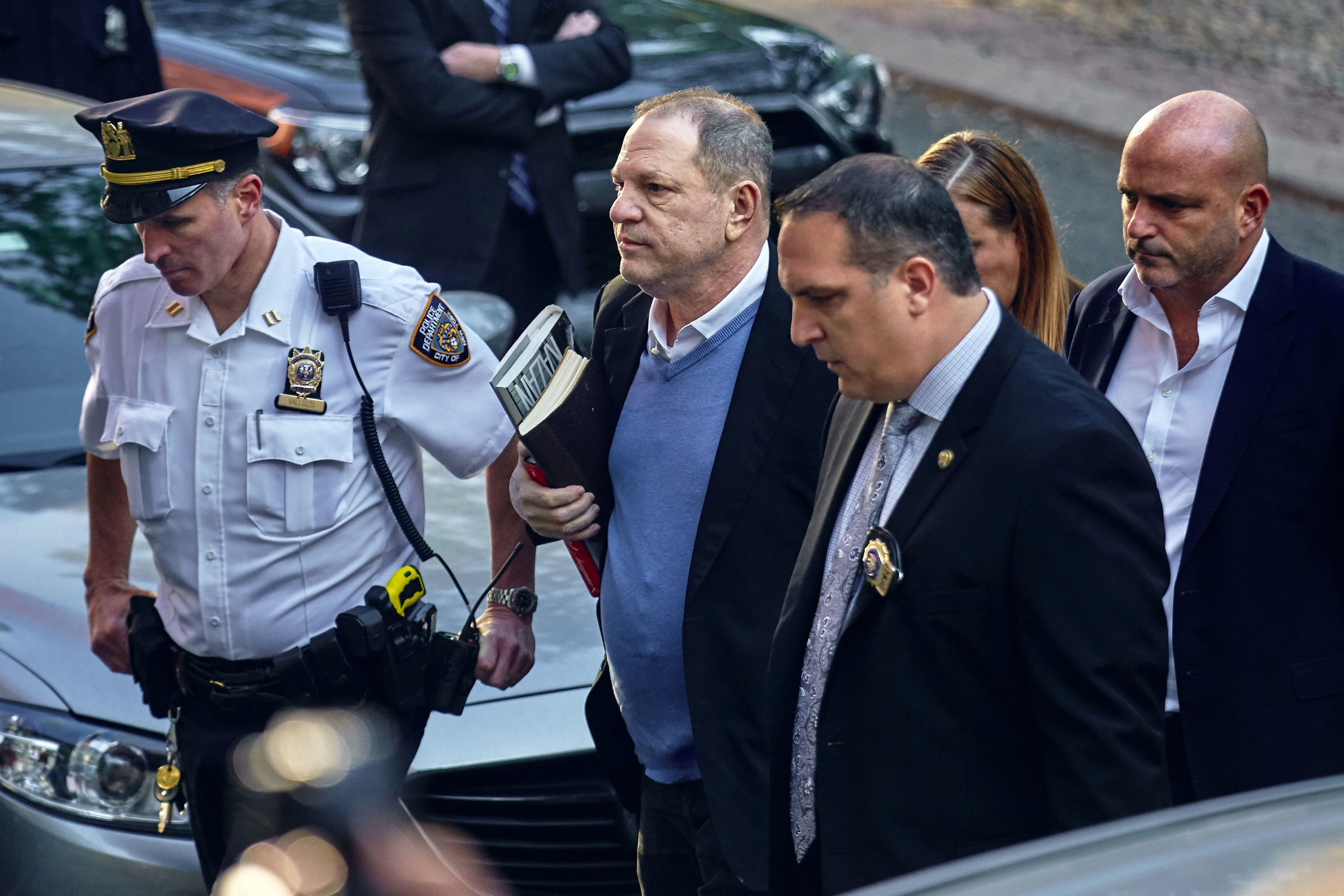 Harvey Weinstein arrives at a New York police precinct (AP Photo/Andres Kudacki)