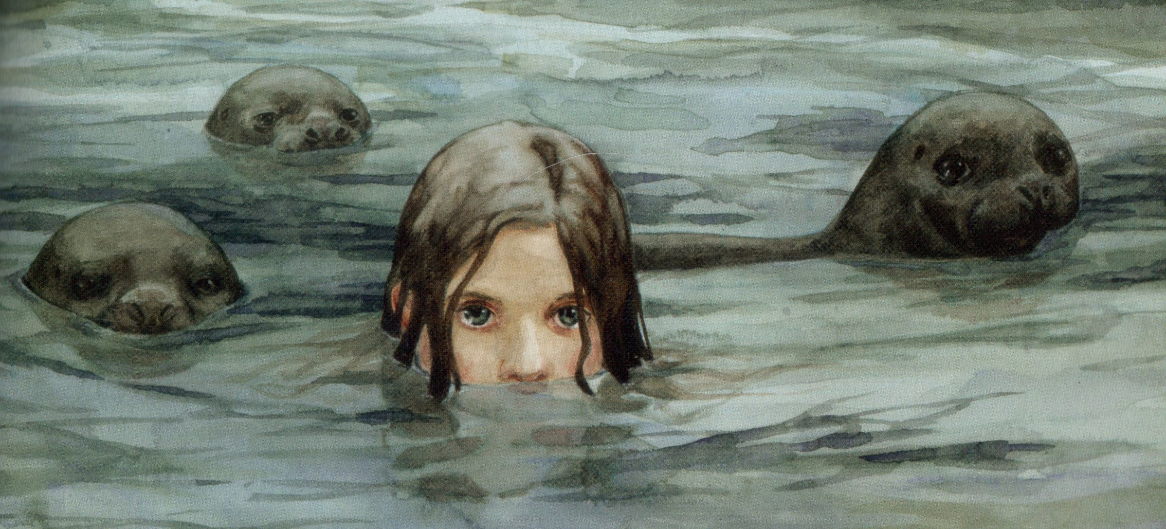 The selkie, a mythical creature which resembles a seal in the sea but assumes human form on land
