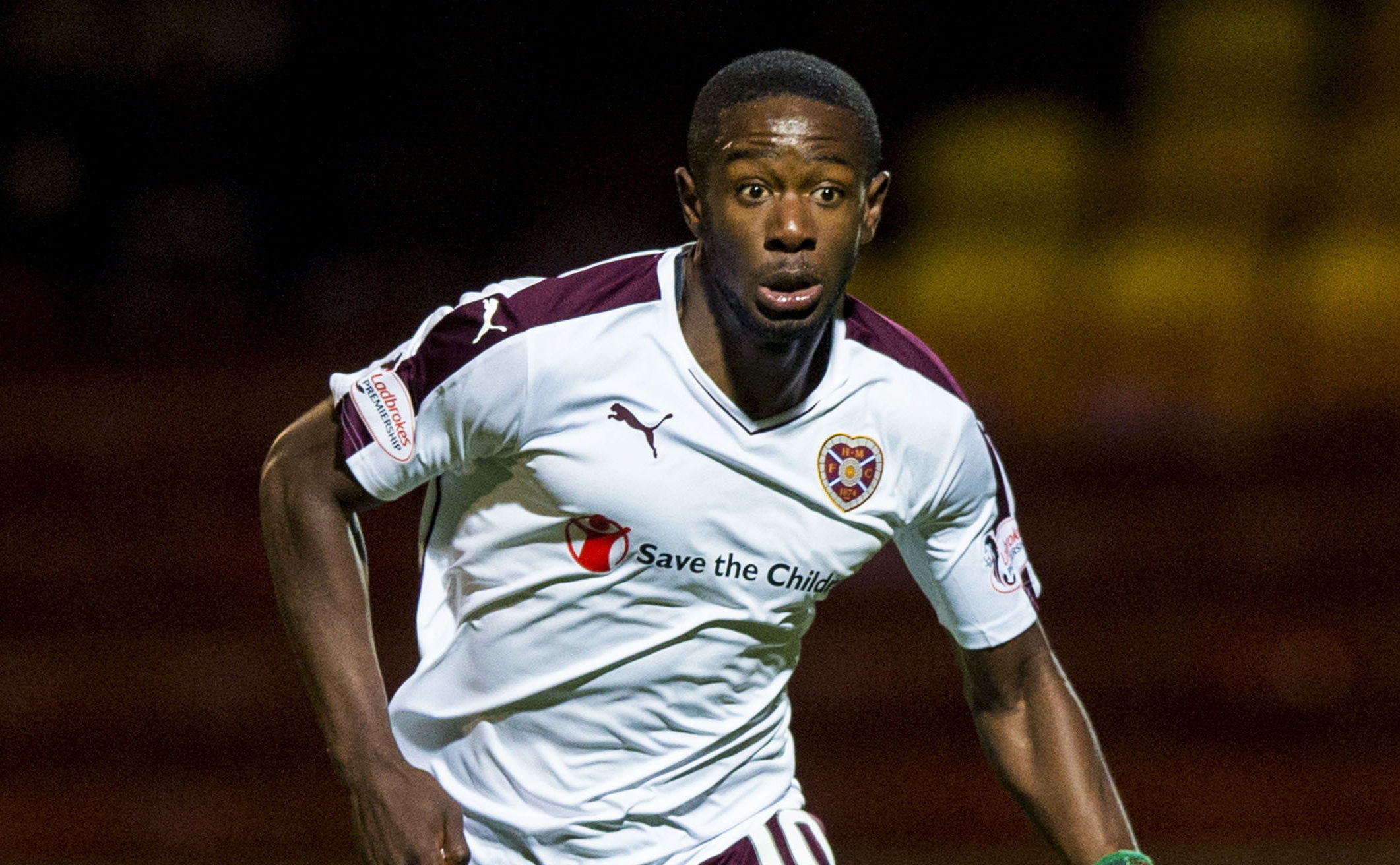 Arnaud Djoum in action for Hearts (SNS Group)