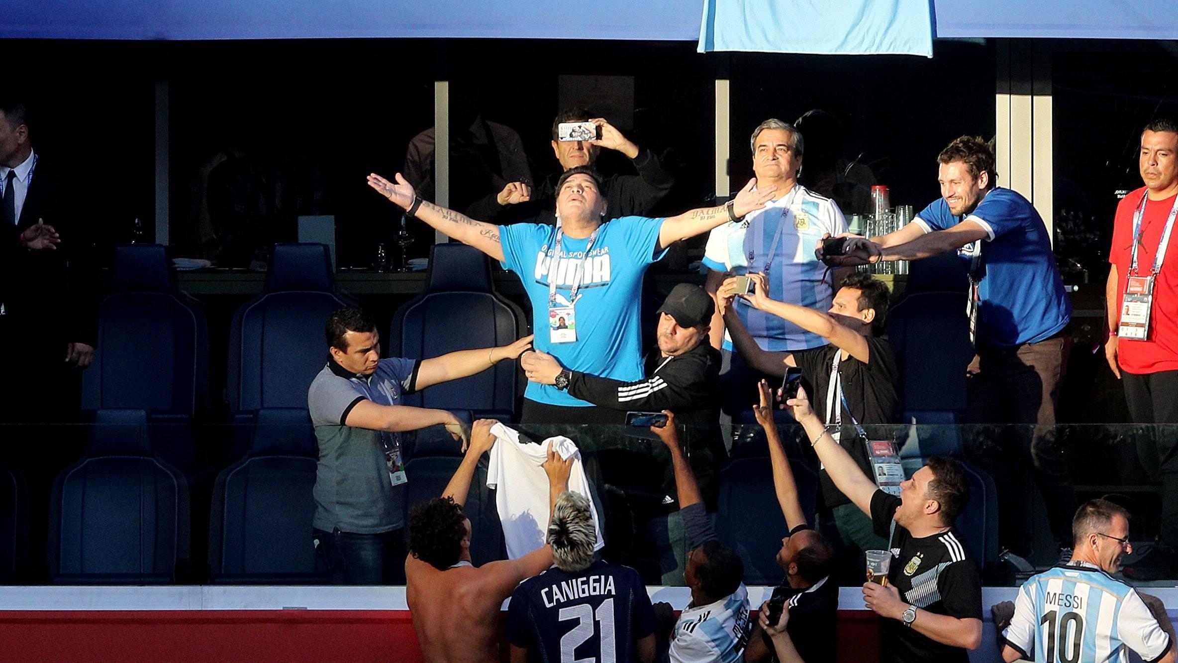 Diego Maradona during last night's World Cup match