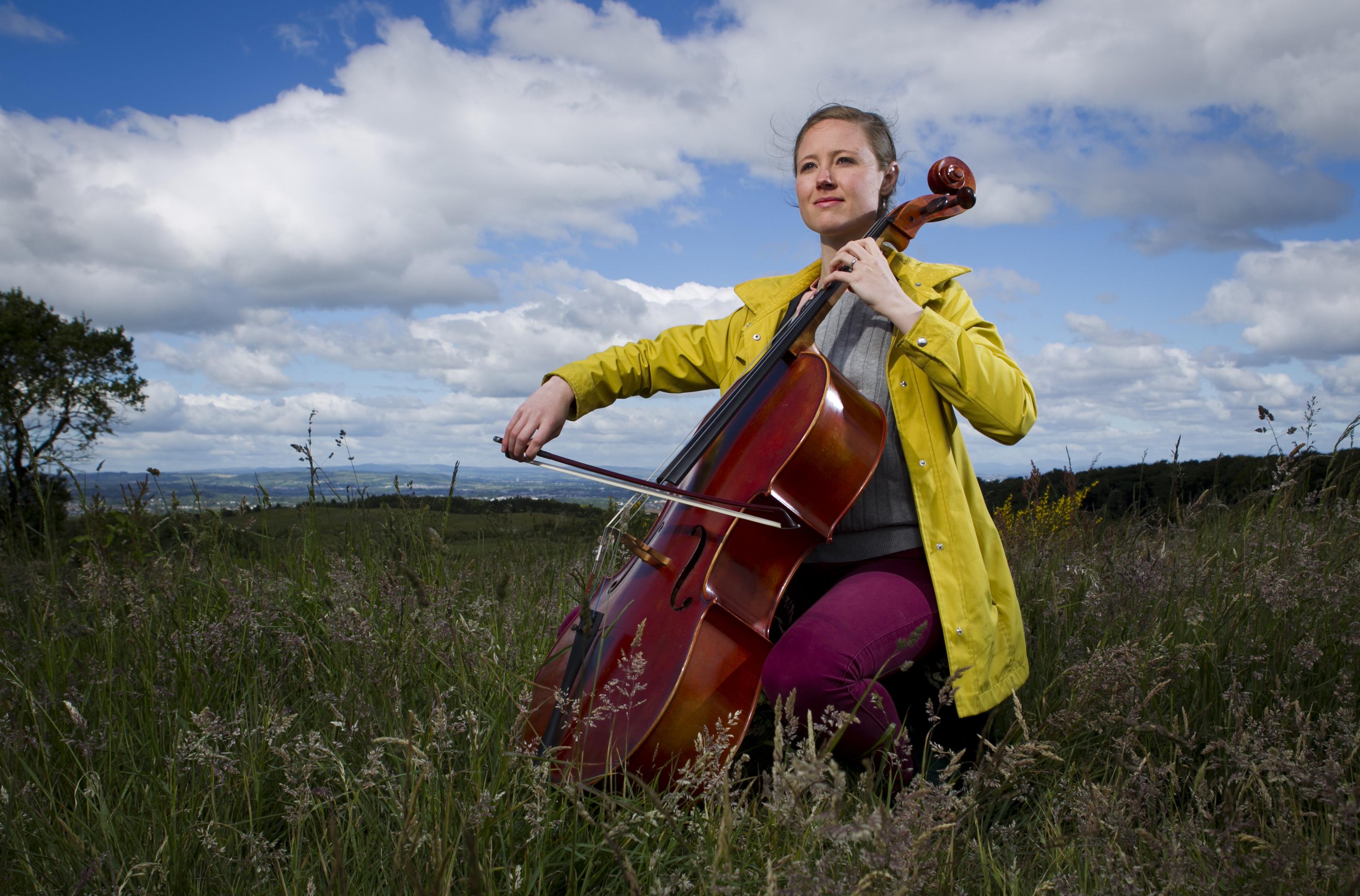 Cellist Heidi van der Swaagh on the Cathkin Braes last week (Andrew Cawley / DC Thomson)