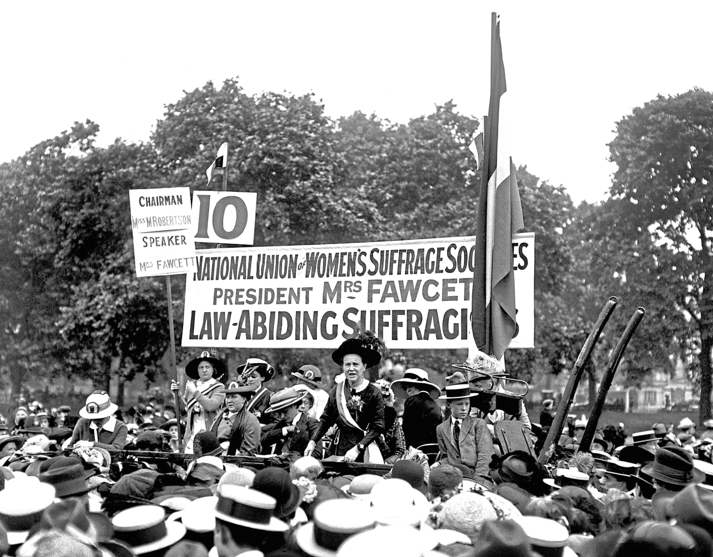 Millicent Fawcett speaks in Hyde Park