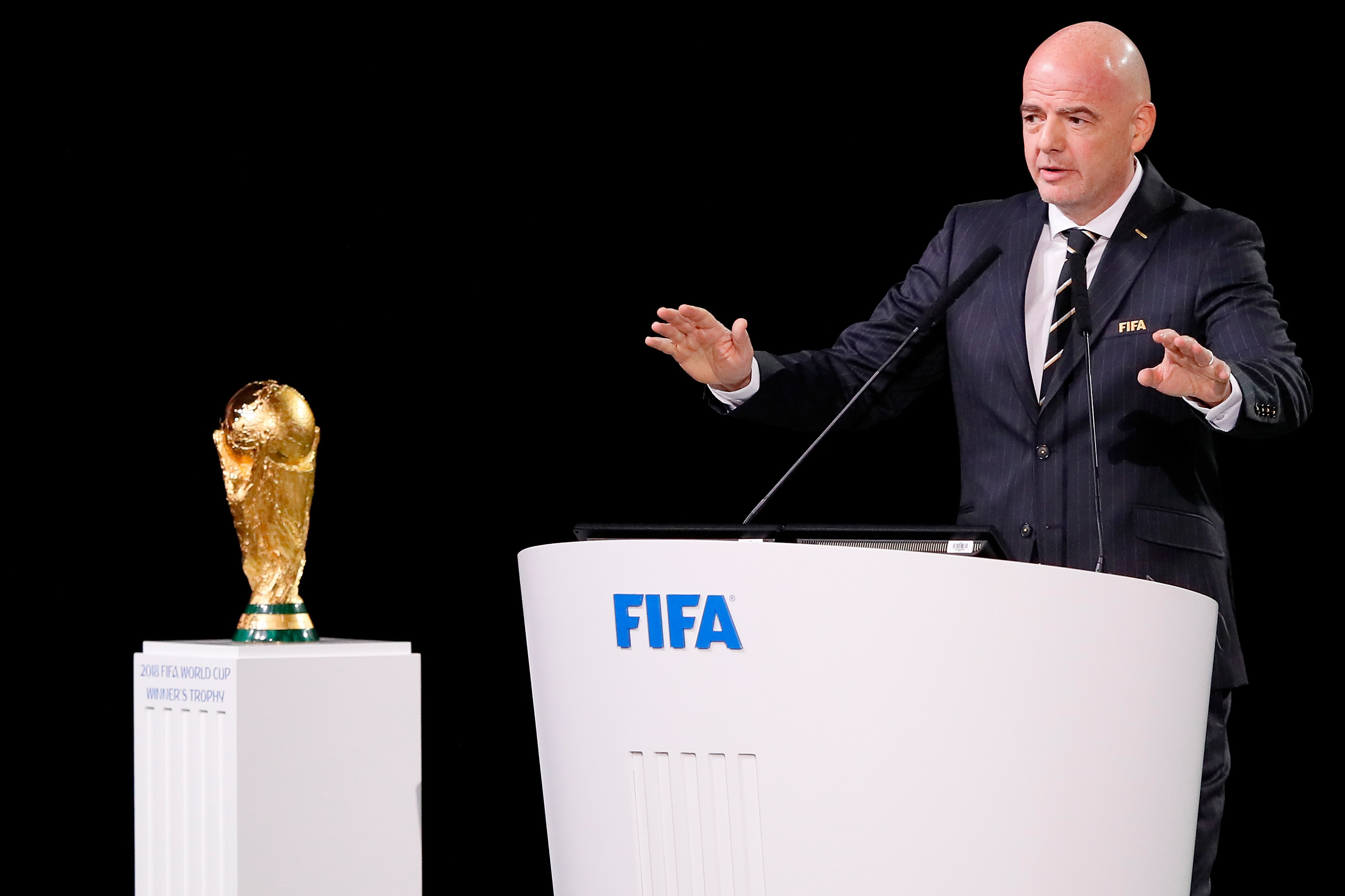 FIFA President Gianni Infantino speaks during the 68th FIFA Congress  (Kevin C. Cox/Getty Images)